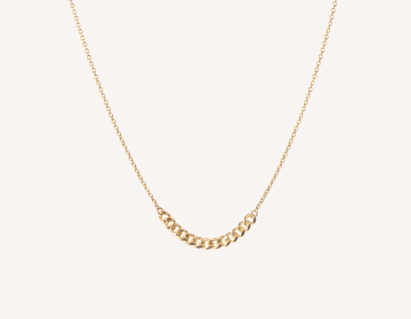 Simple classic chain 14k solid gold Interlink Necklace Vrai and Oro, 14K Yellow Gold