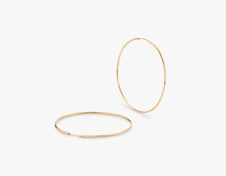 Vrai simple minimalist 14k gold lightweight hoops, 14K Rose Gold