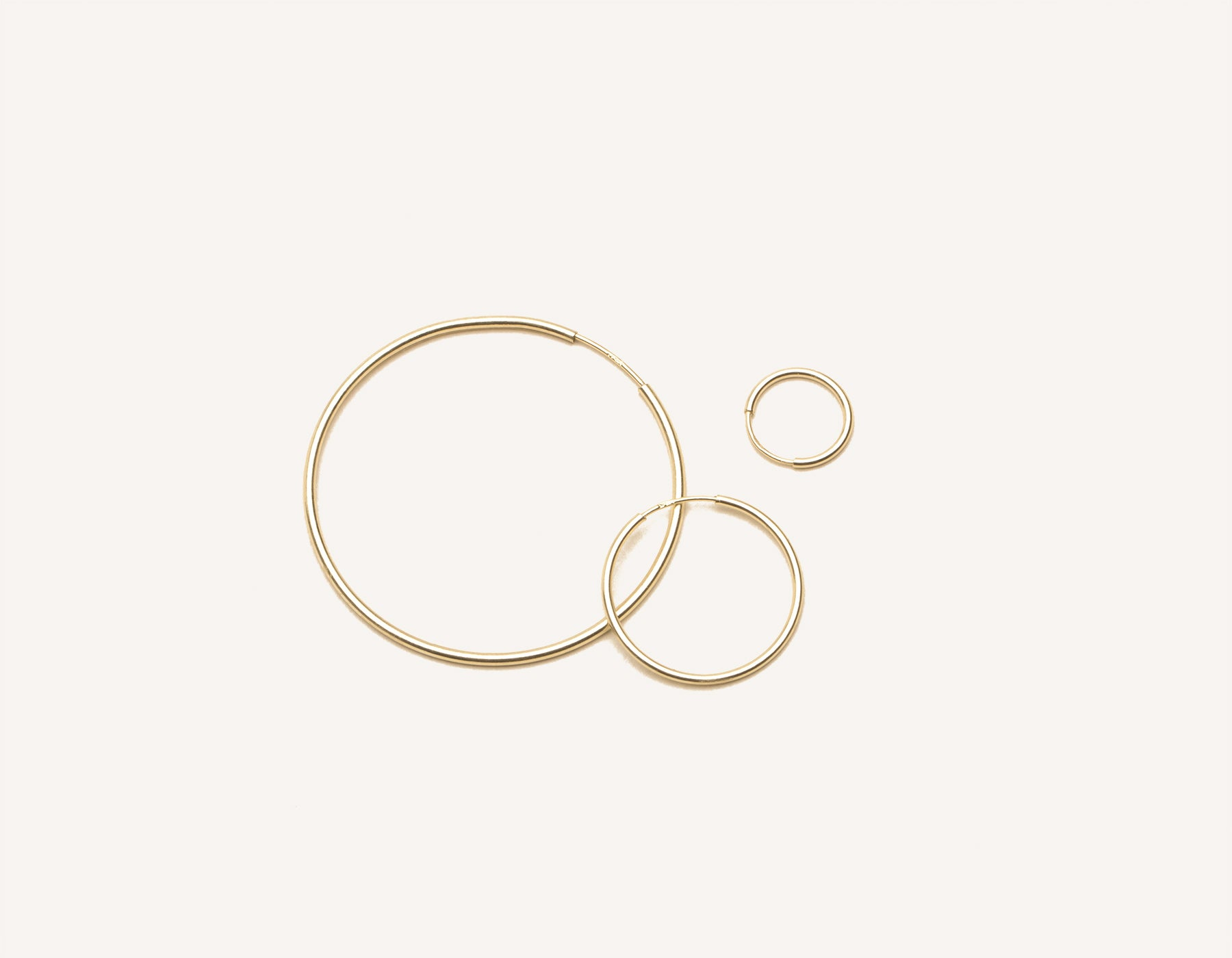 modern minimalist Lightweight Hoop earrings 14k solid gold Vrai & Oro sustainable jewelry, 14K Yellow Gold