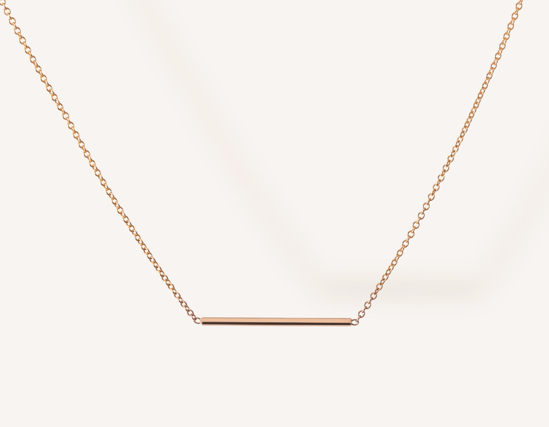 Simple classic Line Necklace 14k solid gold small rectangular bar thin chain spring ring clasp Vrai & Oro minimalist jewelry, 14K Rose Gold