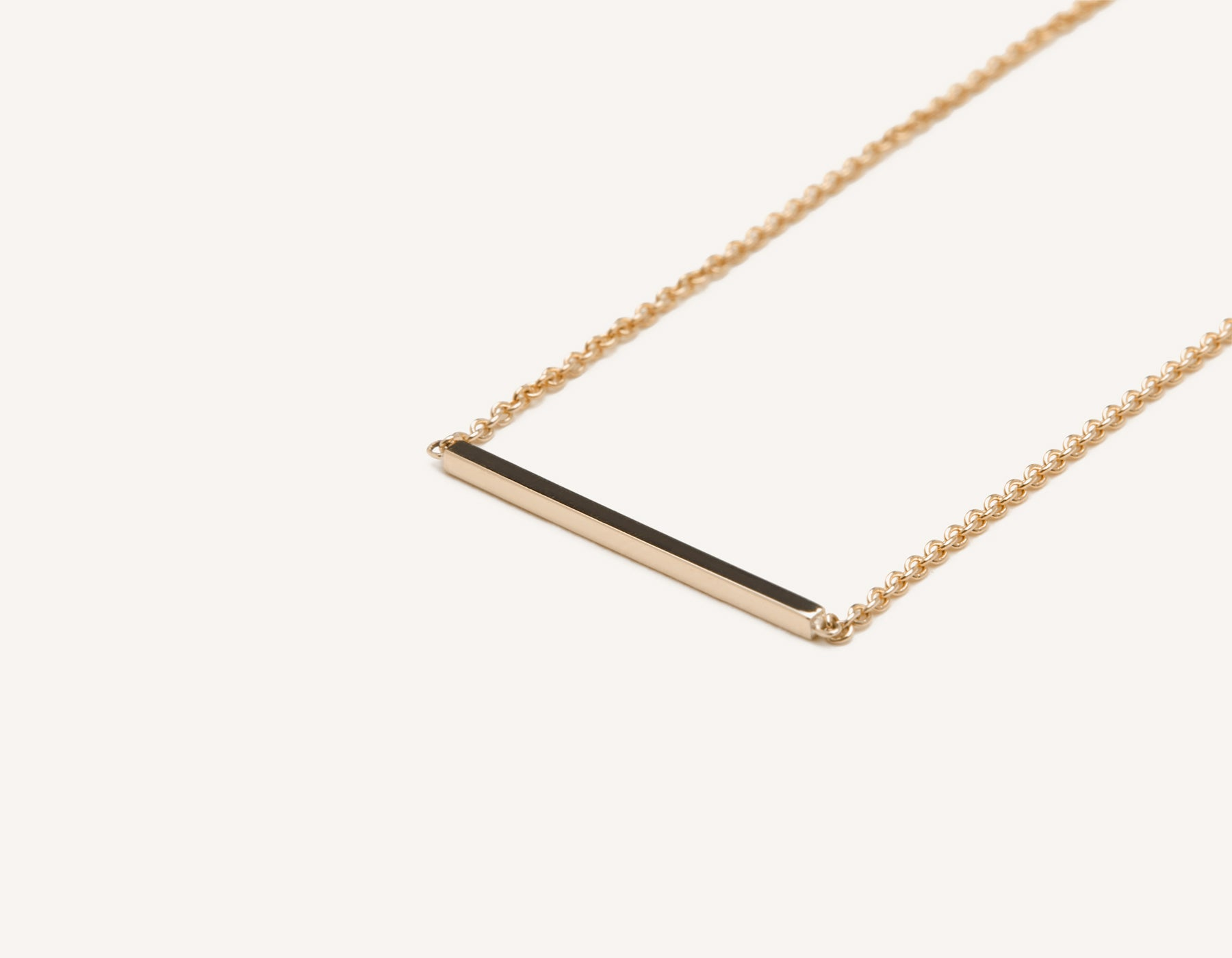 Modern minimalist 14k solid gold Line Necklace dainty chain Vrai and Oro sustainable jewelry, 14K Rose Gold