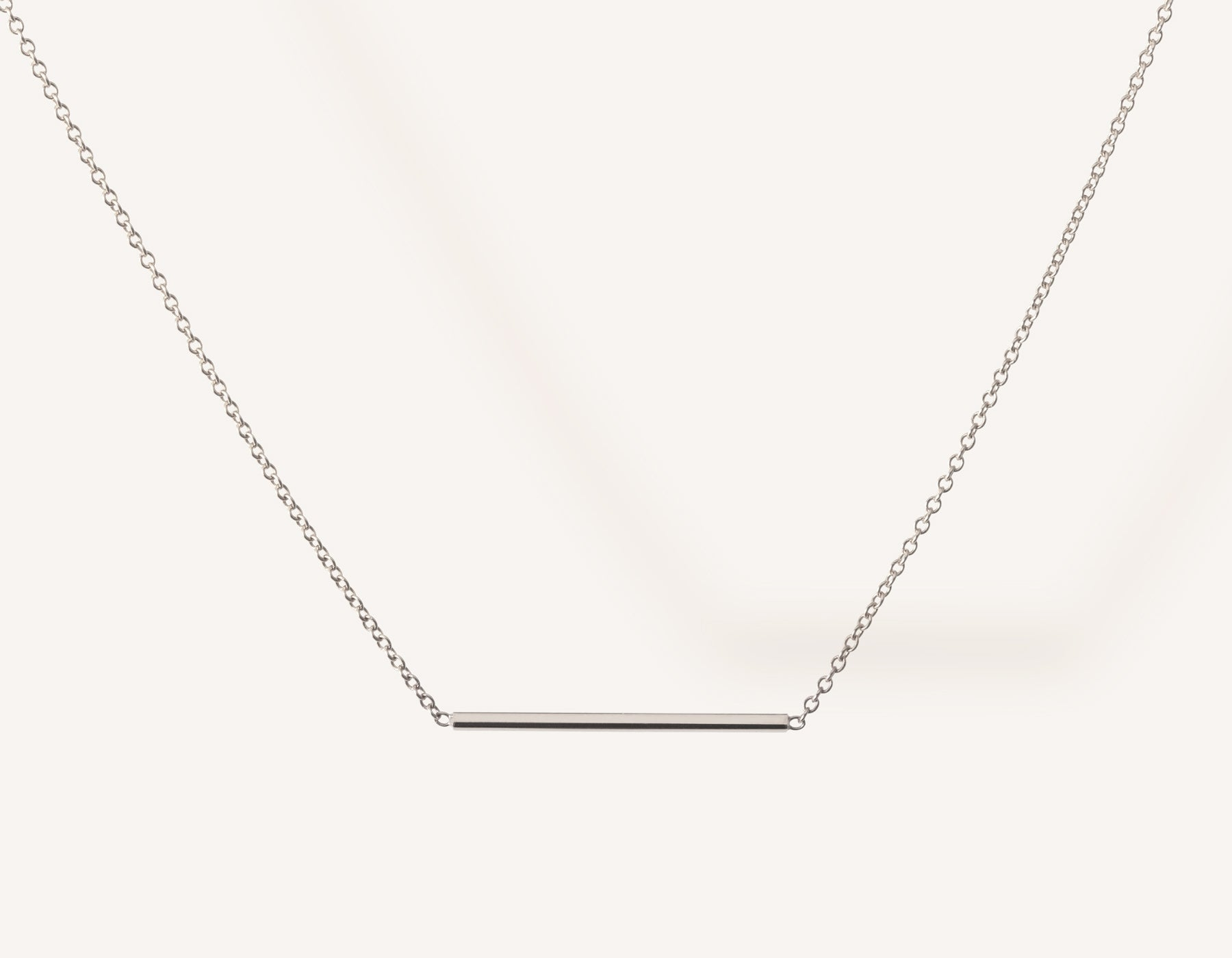Simple classic Line Necklace 14k solid gold small rectangular bar thin chain spring ring clasp Vrai & Oro minimalist jewelry, 14K White Gold