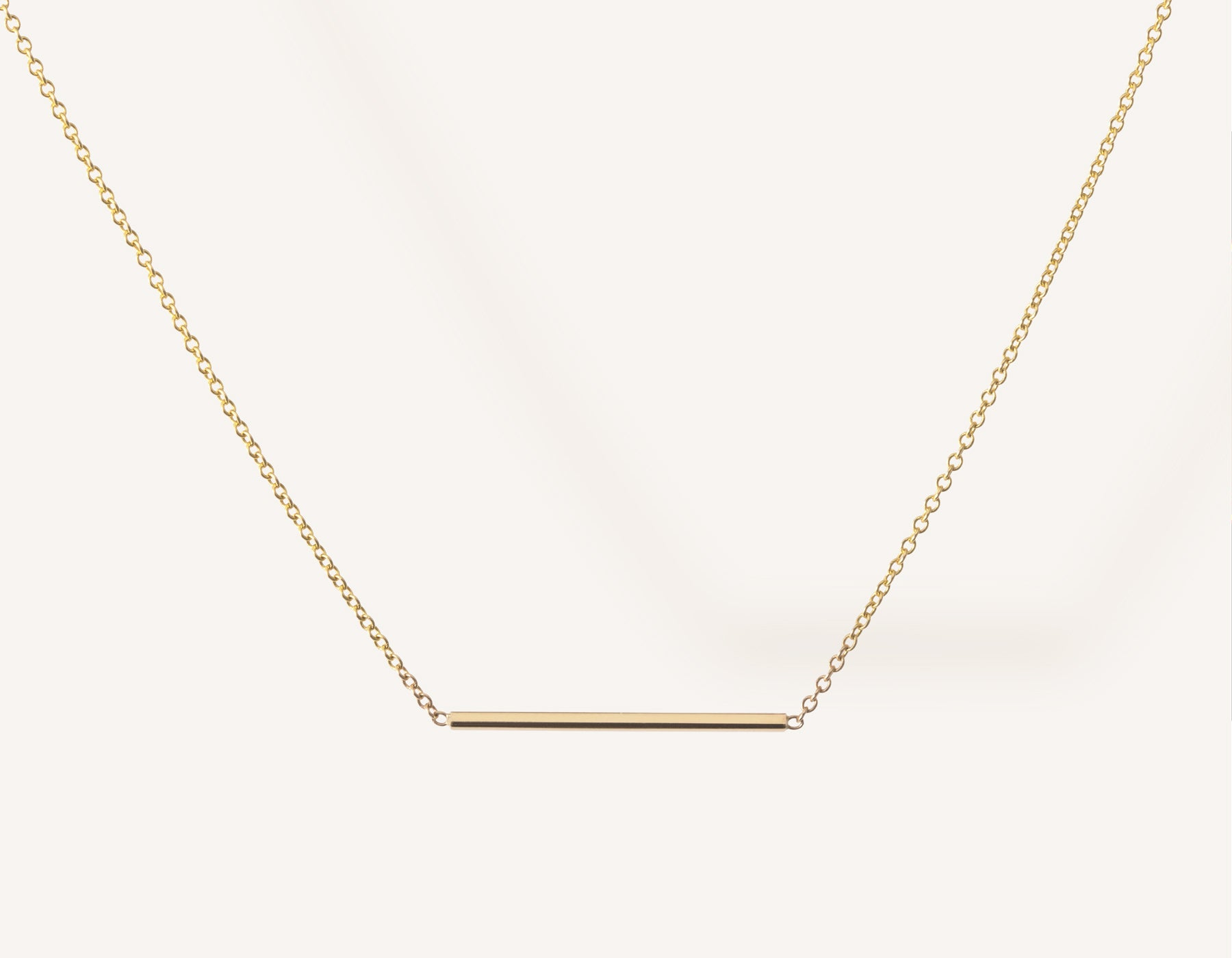 2b35b0697e2 Simple classic Line Necklace 14k solid gold small rectangular bar thin chain  spring ring clasp Vrai