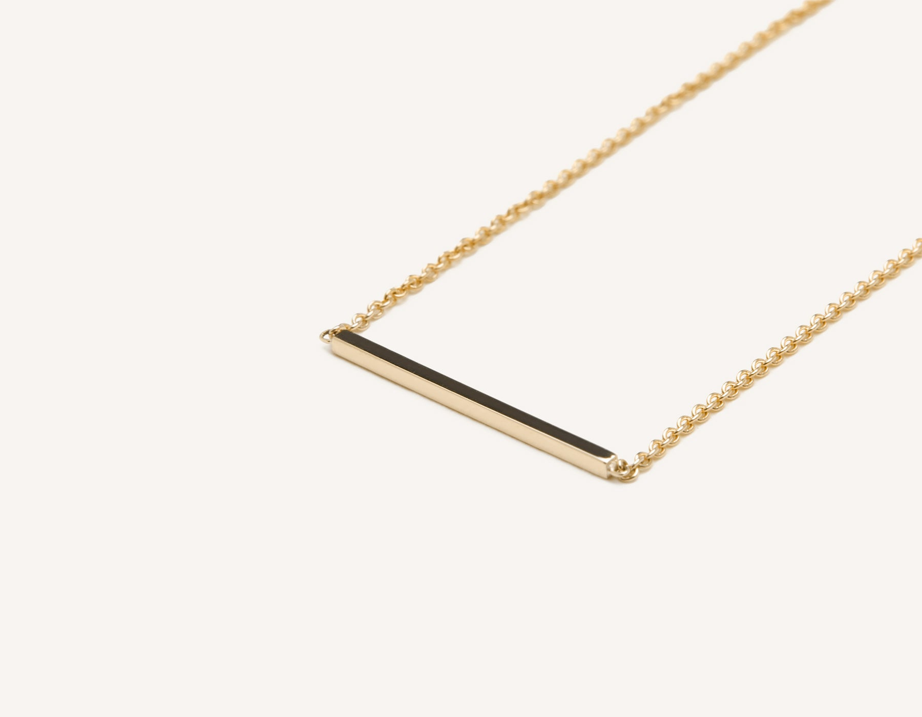 Modern minimalist 14k solid gold Line Necklace dainty chain Vrai and Oro sustainable jewelry, 14K Yellow Gold