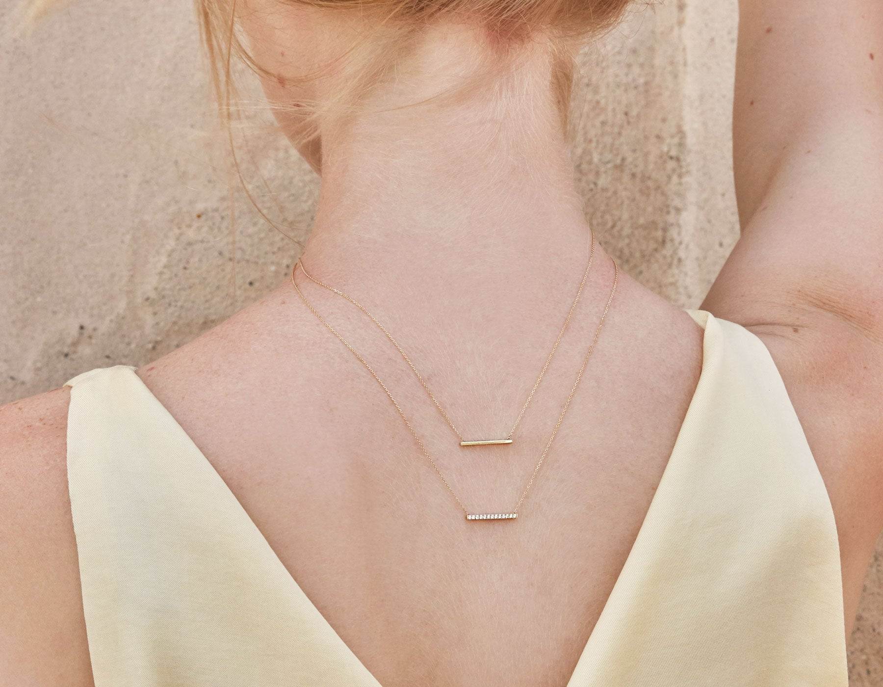 Minimalist classic Line Necklace shimmer chain plain and pave by Vrai