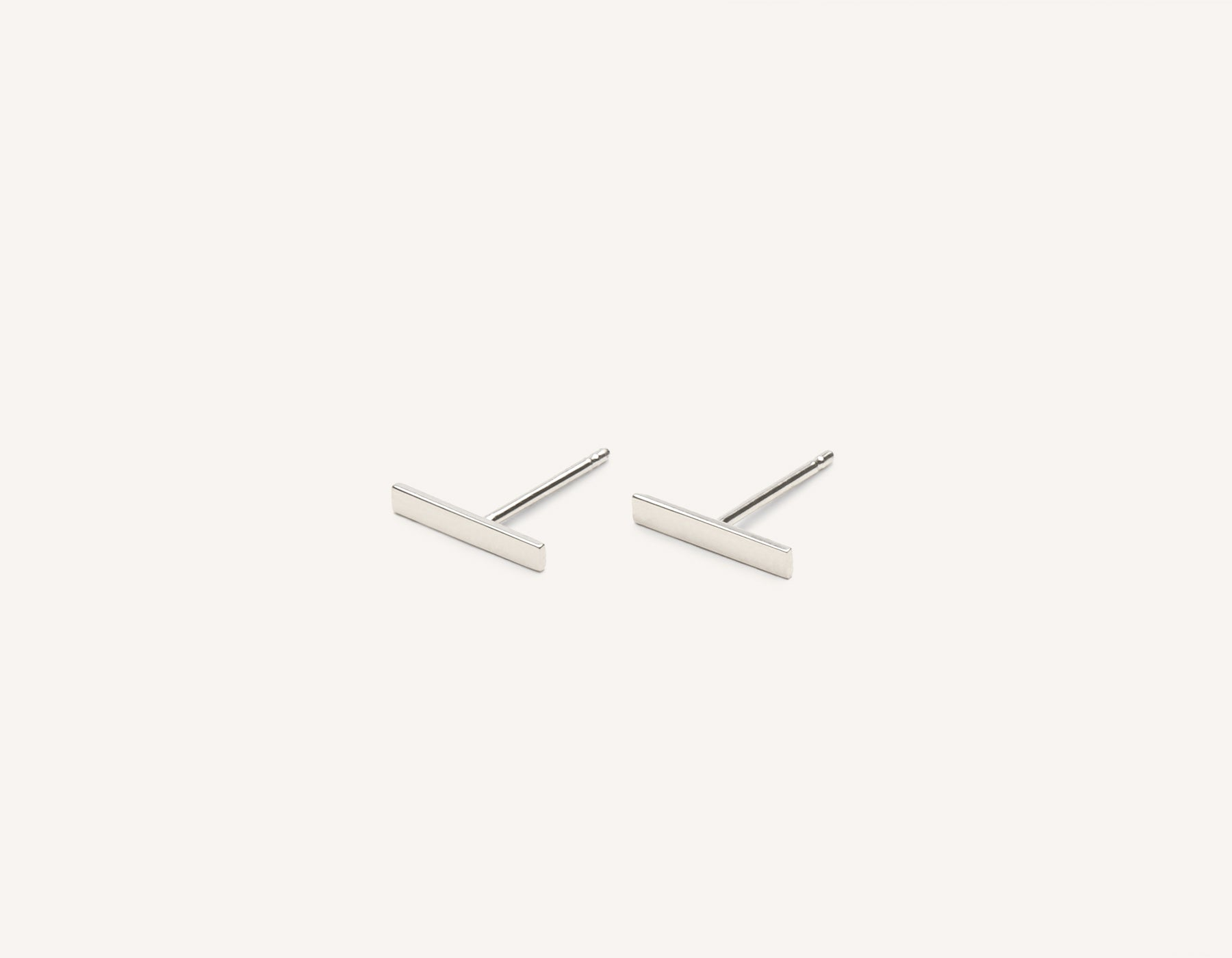 Simple classic Line Stud earrings 14k solid gold Vrai & Oro minimalist jewelry, 14K White Gold