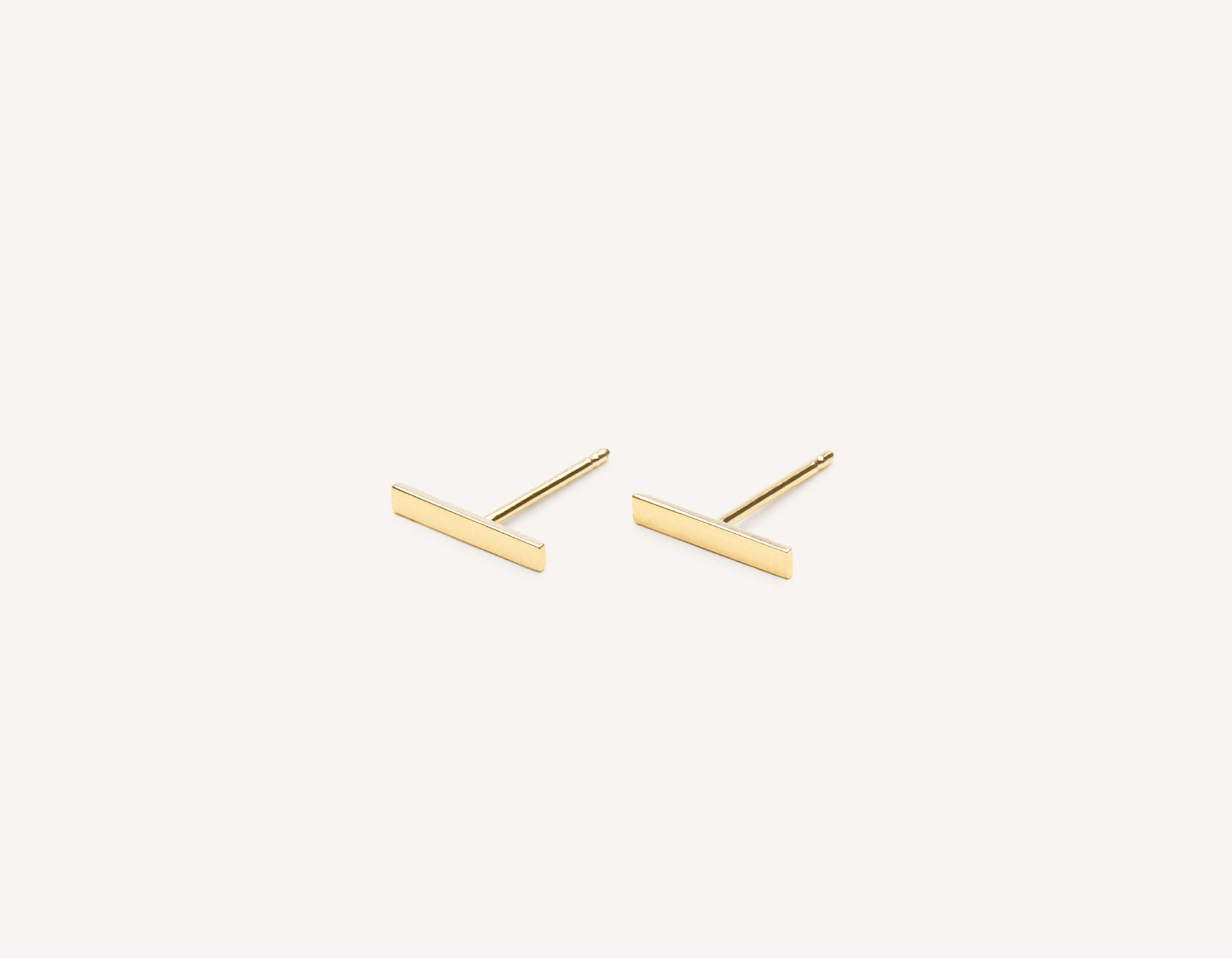 Simple classic Line Stud earrings 14k solid gold Vrai & Oro minimalist jewelry, 14K Yellow Gold