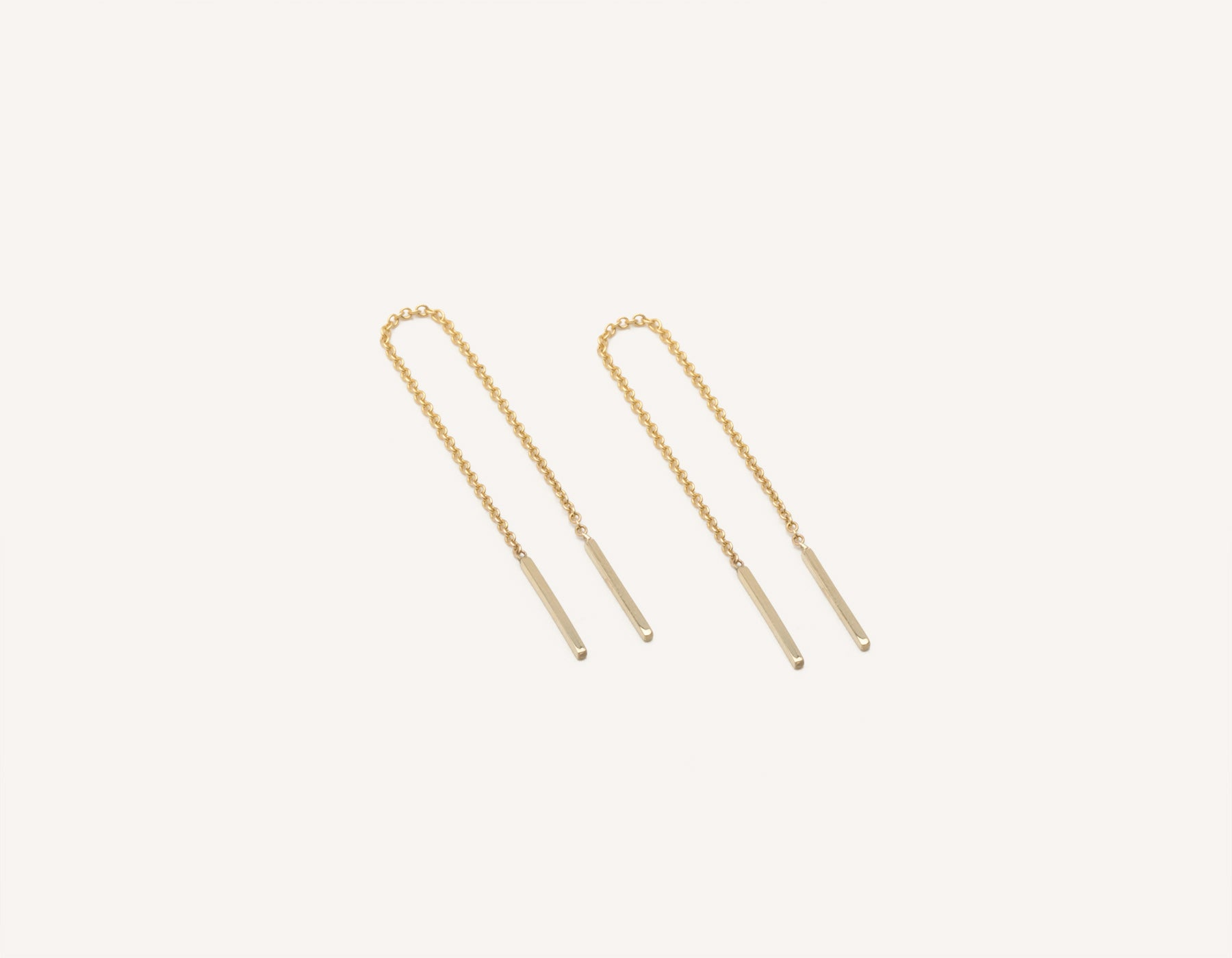 Vrai & Oro dainty minimalist 14K Solid Gold Line Threader Chain Earrings, 14K Yellow Gold