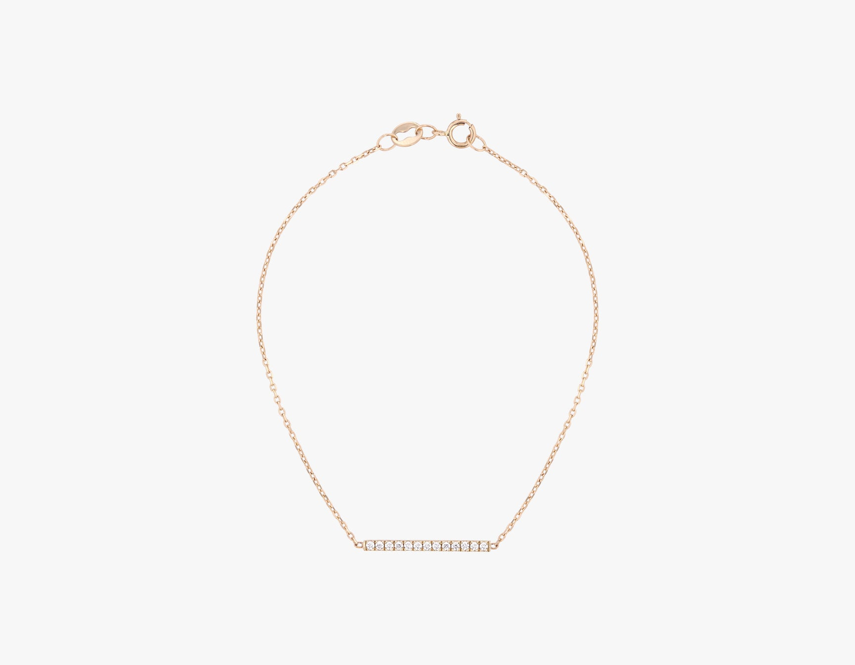 Vrai solid gold Line Bracelet with Pave, 14K Rose Gold