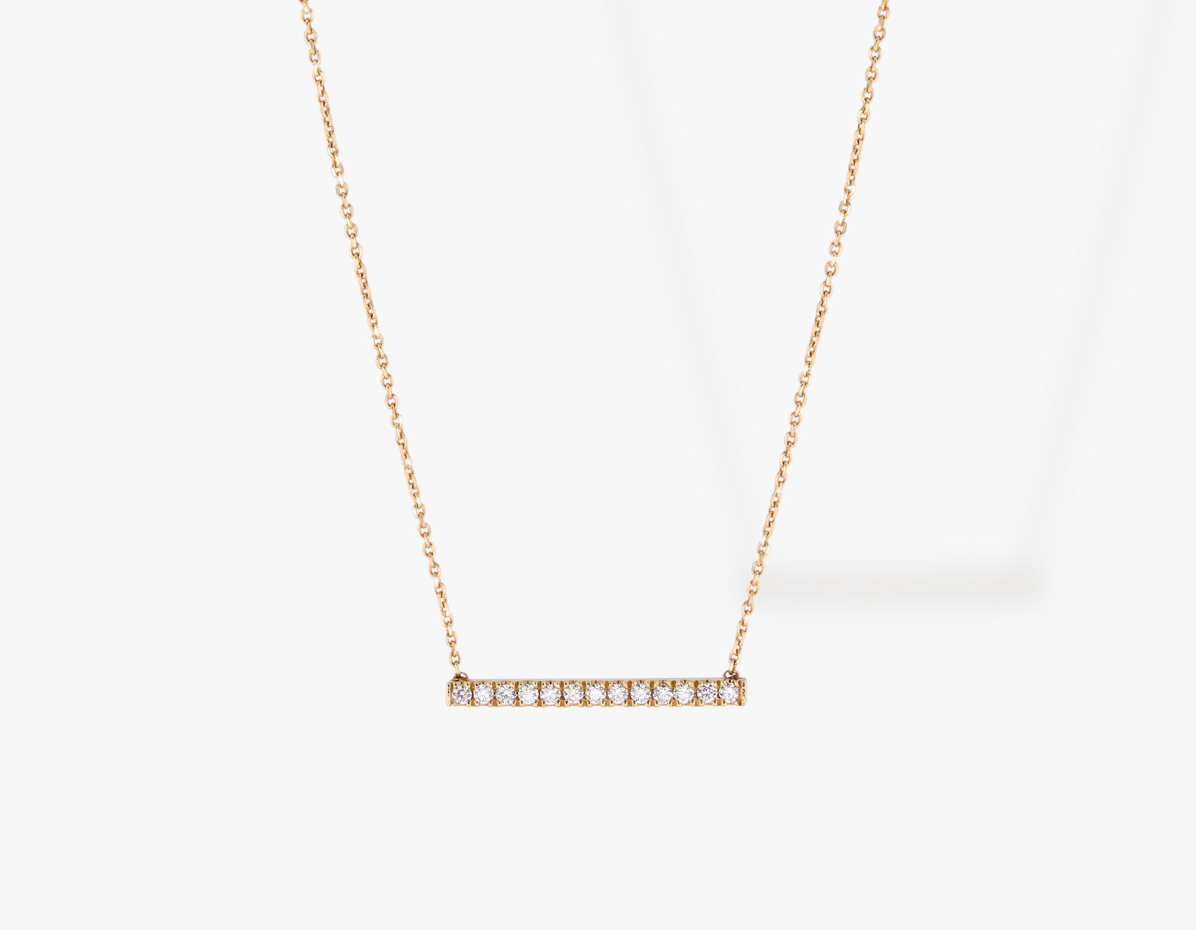 Vrai solid gold Pave Line Necklace, 14K Rose Gold
