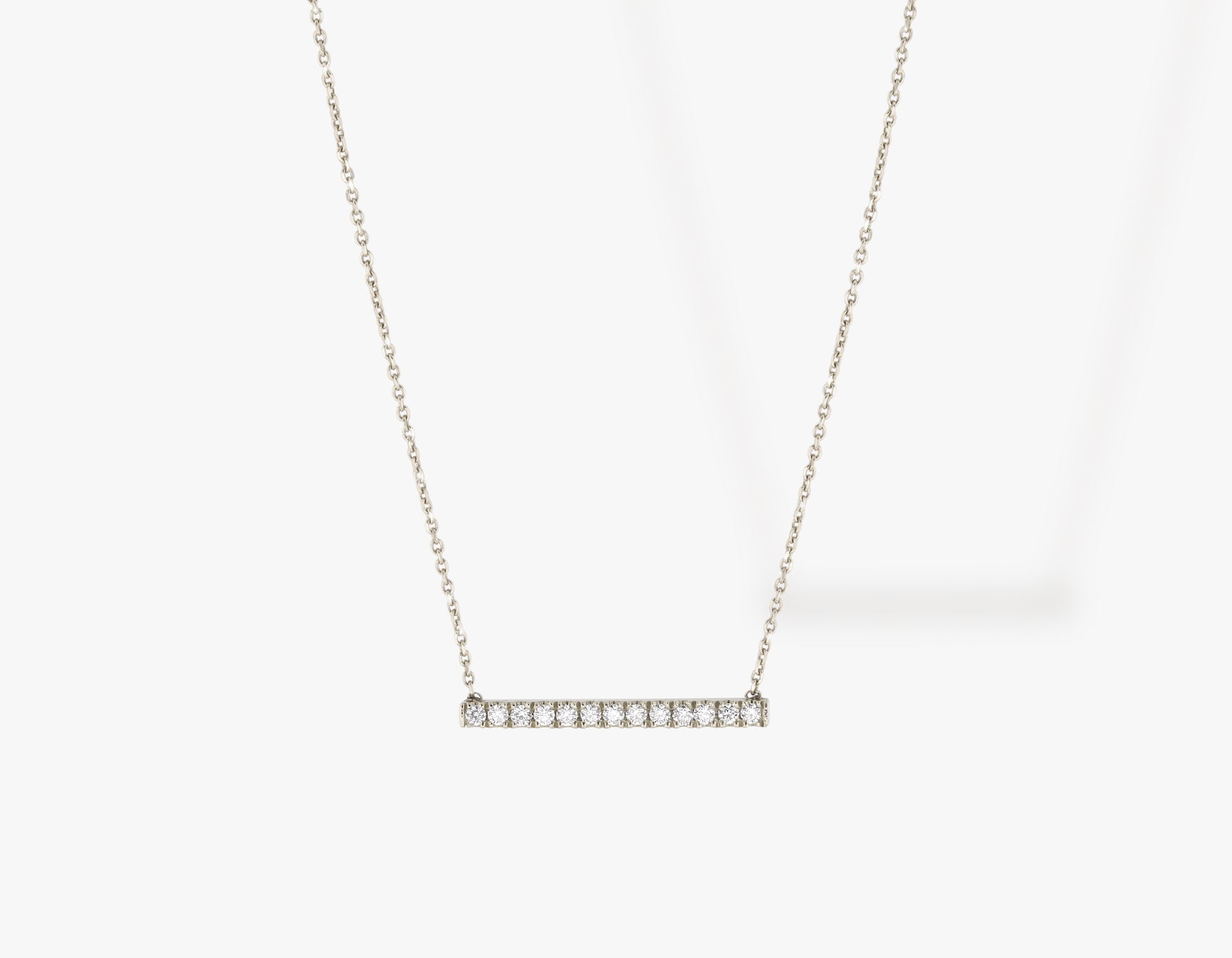 Vrai solid gold Pave Line Necklace, 14K White Gold