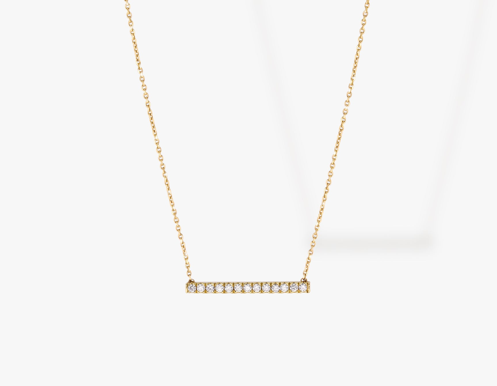 Vrai solid gold Pave Line Necklace, 14K Yellow Gold
