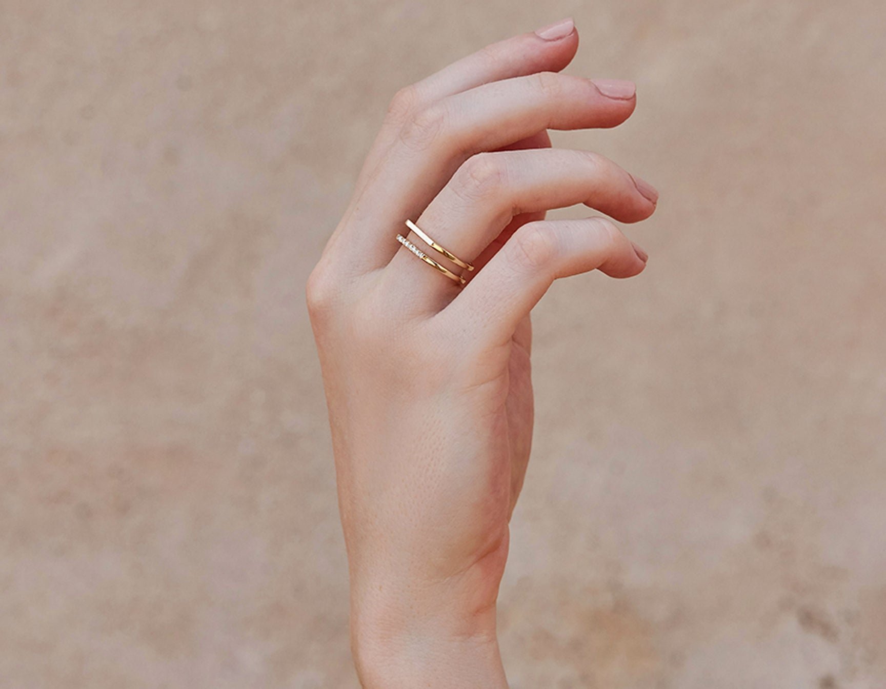 Minimalist classic Line Ring plain and pave by Vrai