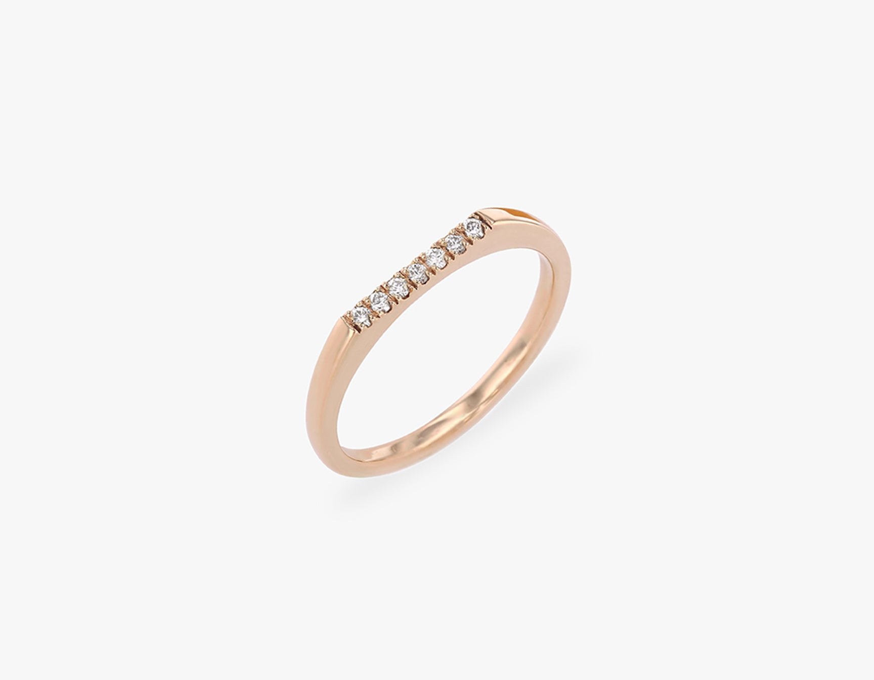 Vrai solid gold Pave Line Ring, 14K Rose Gold