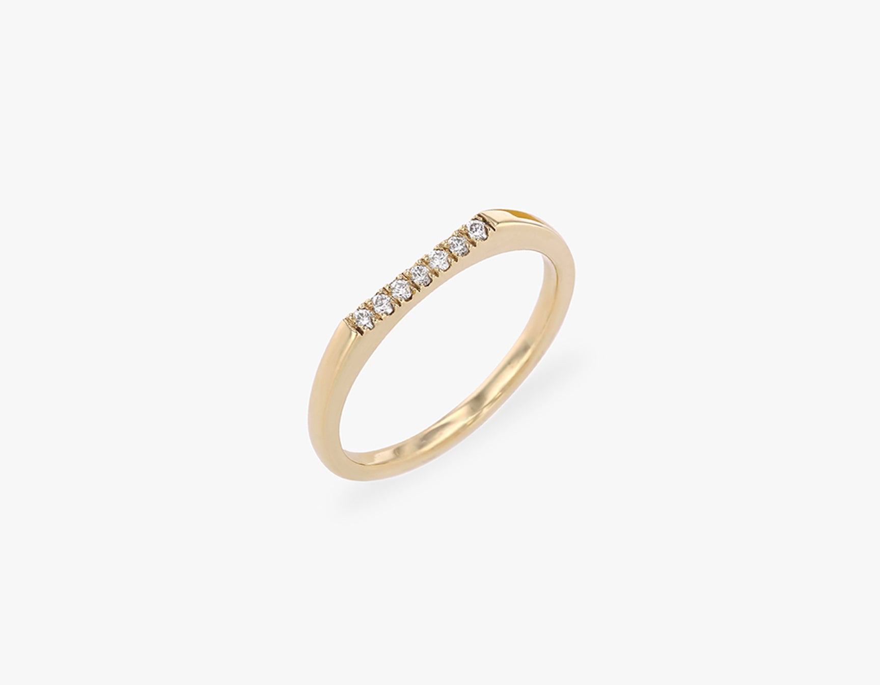 Vrai solid gold Pave Line Ring, 14K Yellow Gold