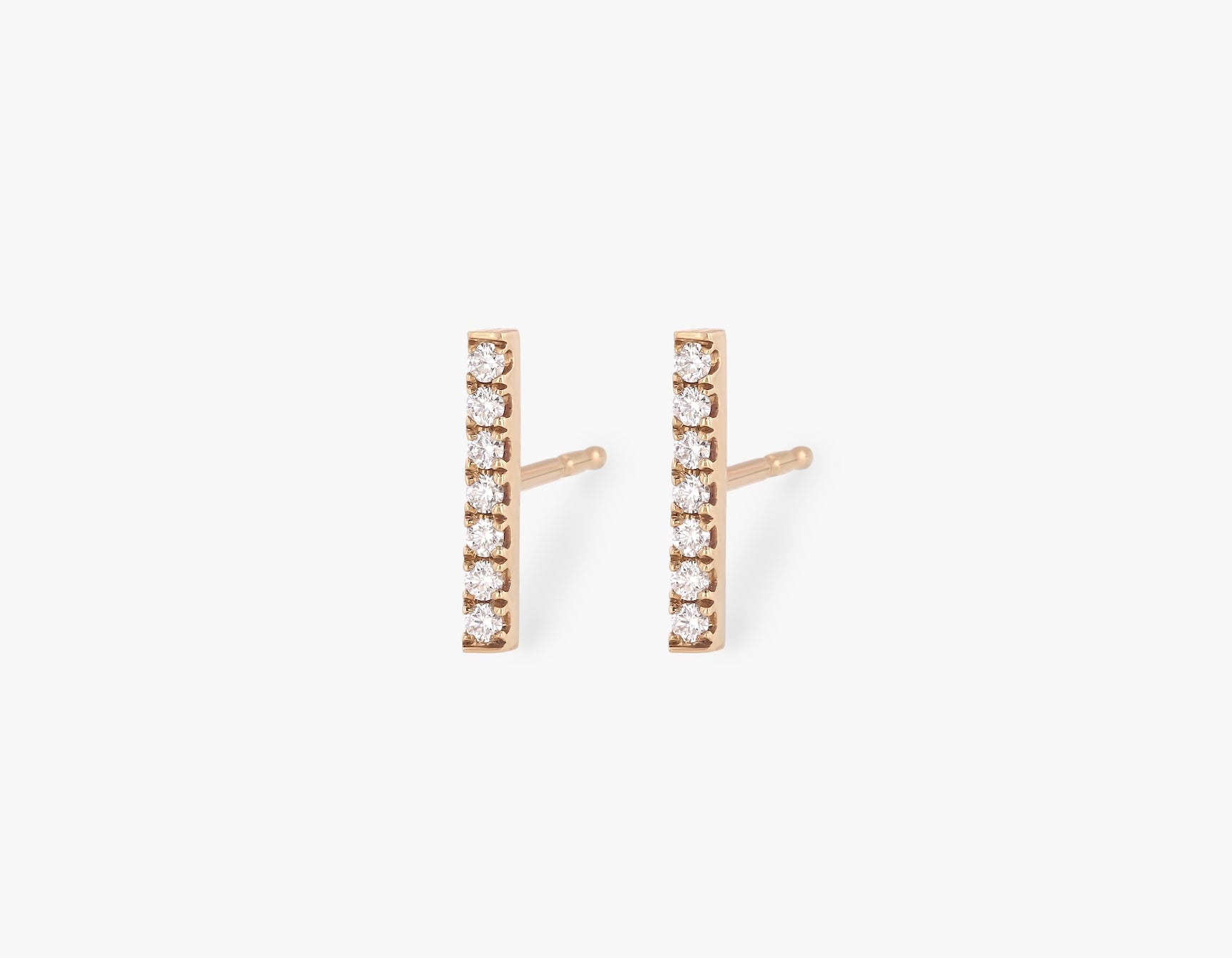 Vrai solid gold Pave Line Stud, 14K Rose Gold