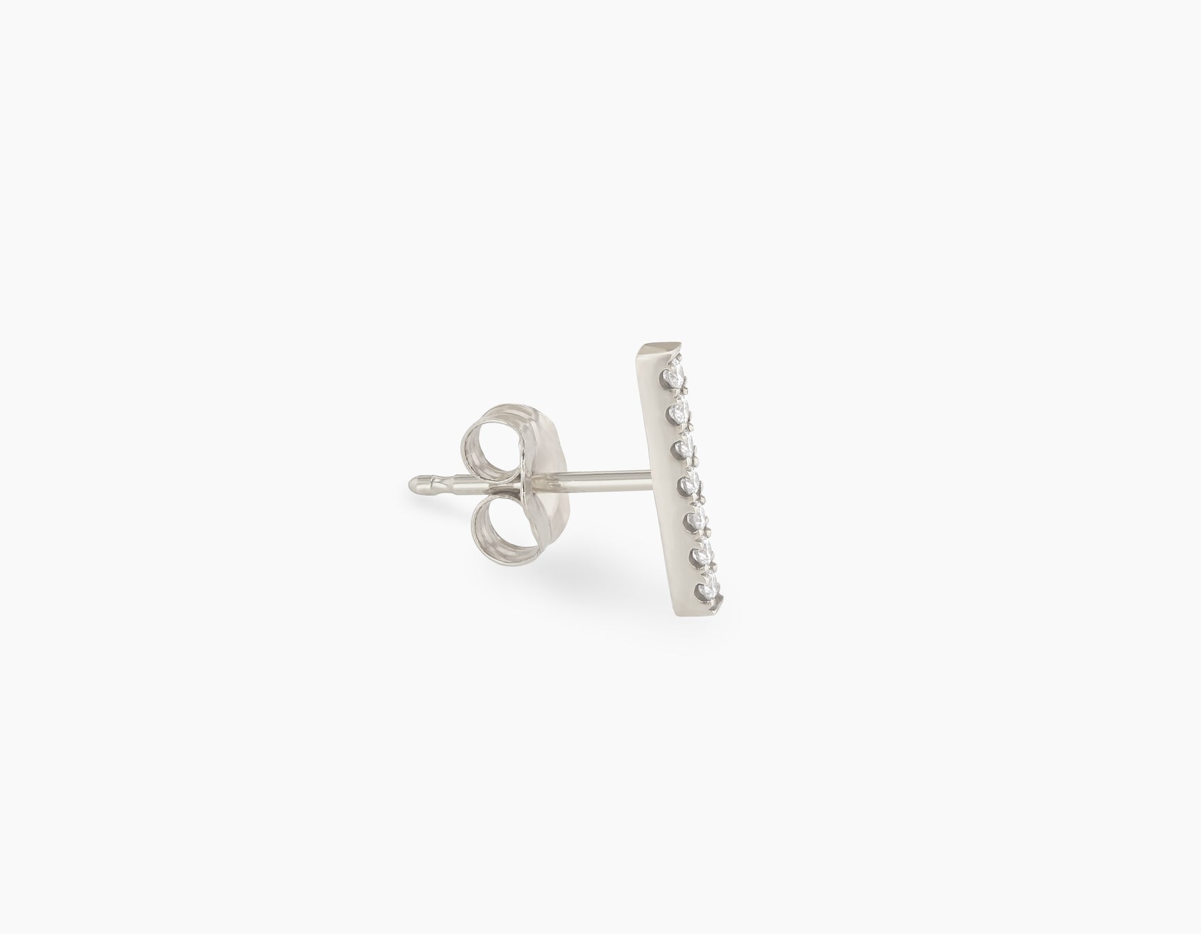 Vrai solid gold Pave Line Stud, 14K White Gold