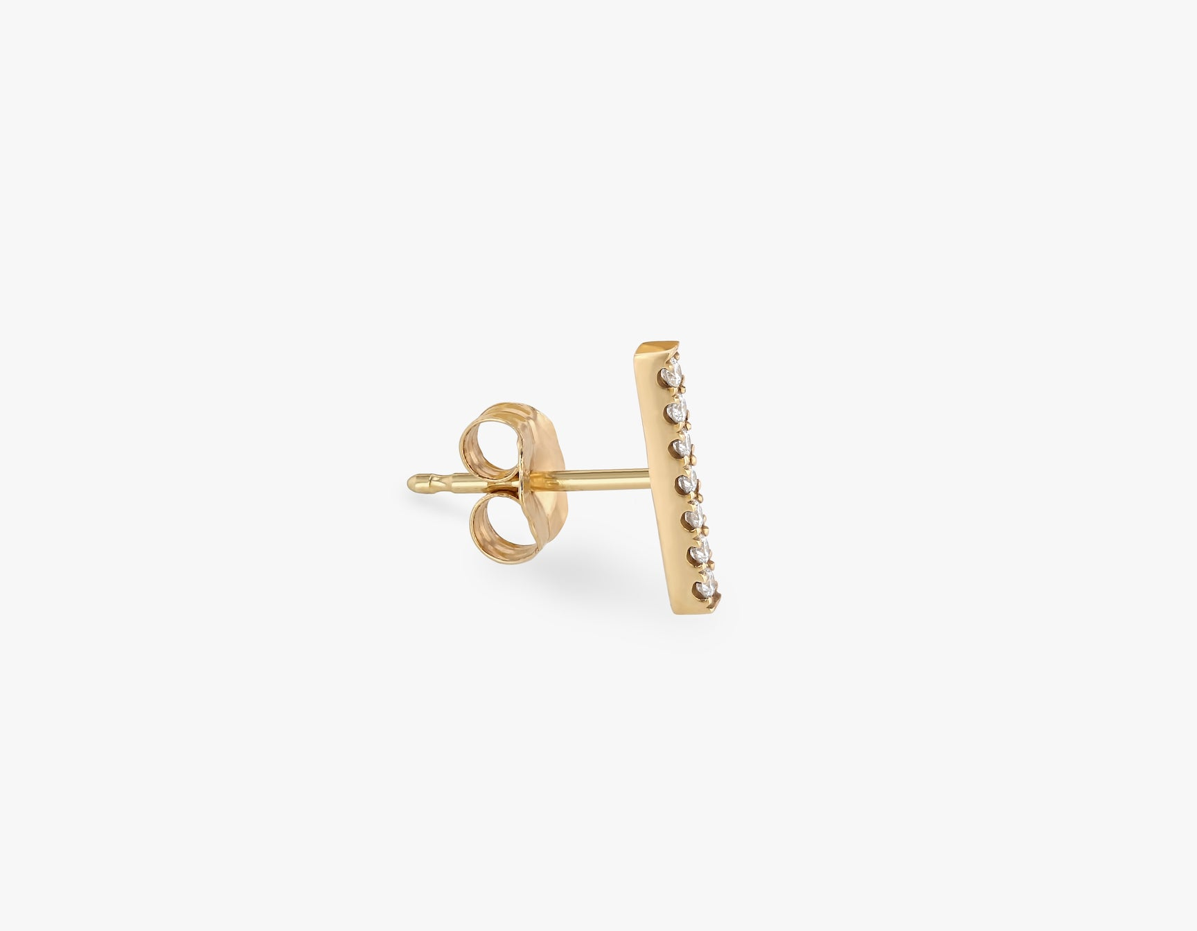 Vrai solid gold Pave Line Stud, 14K Yellow Gold