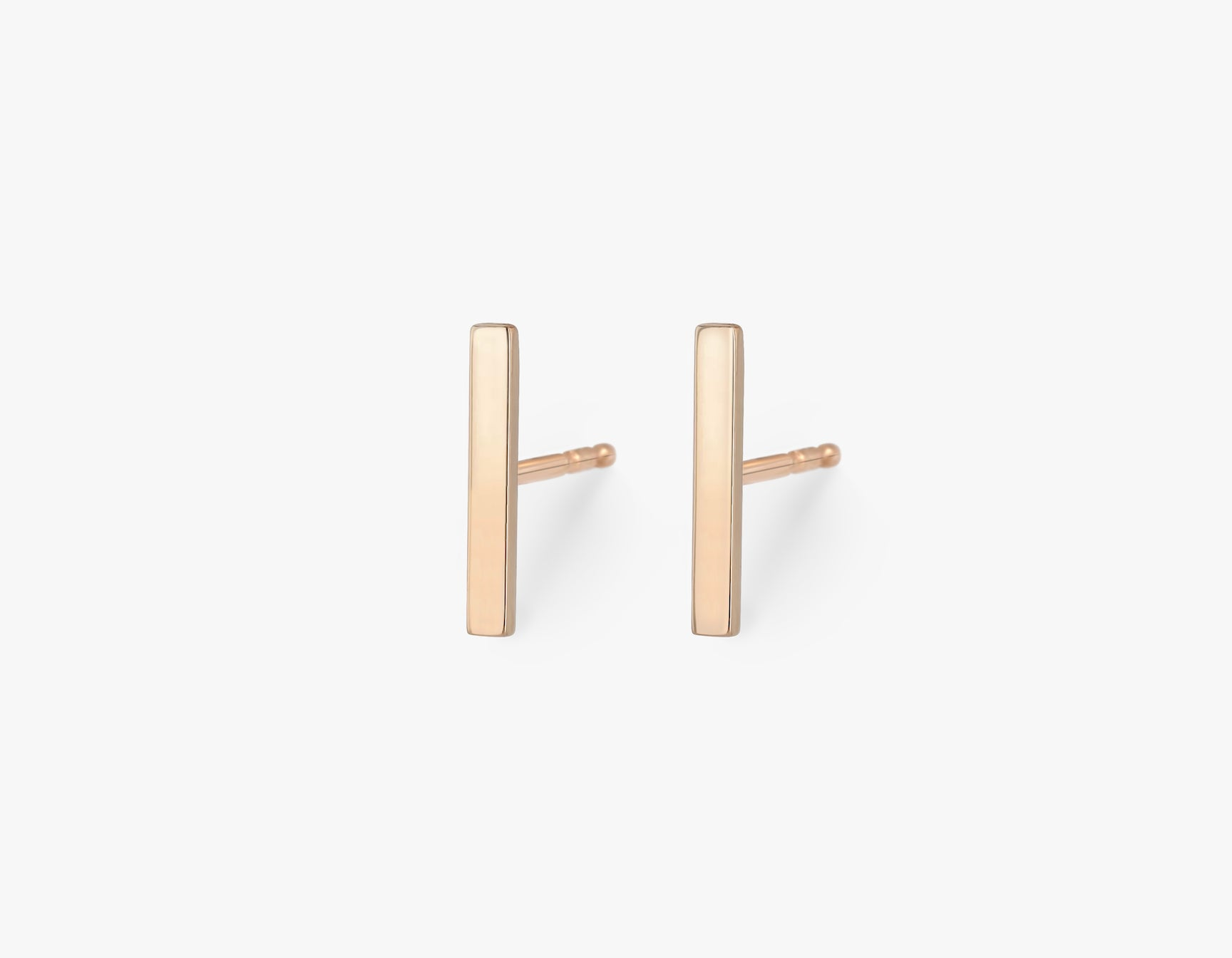 Vrai solid gold Line Stud, 14K Rose Gold