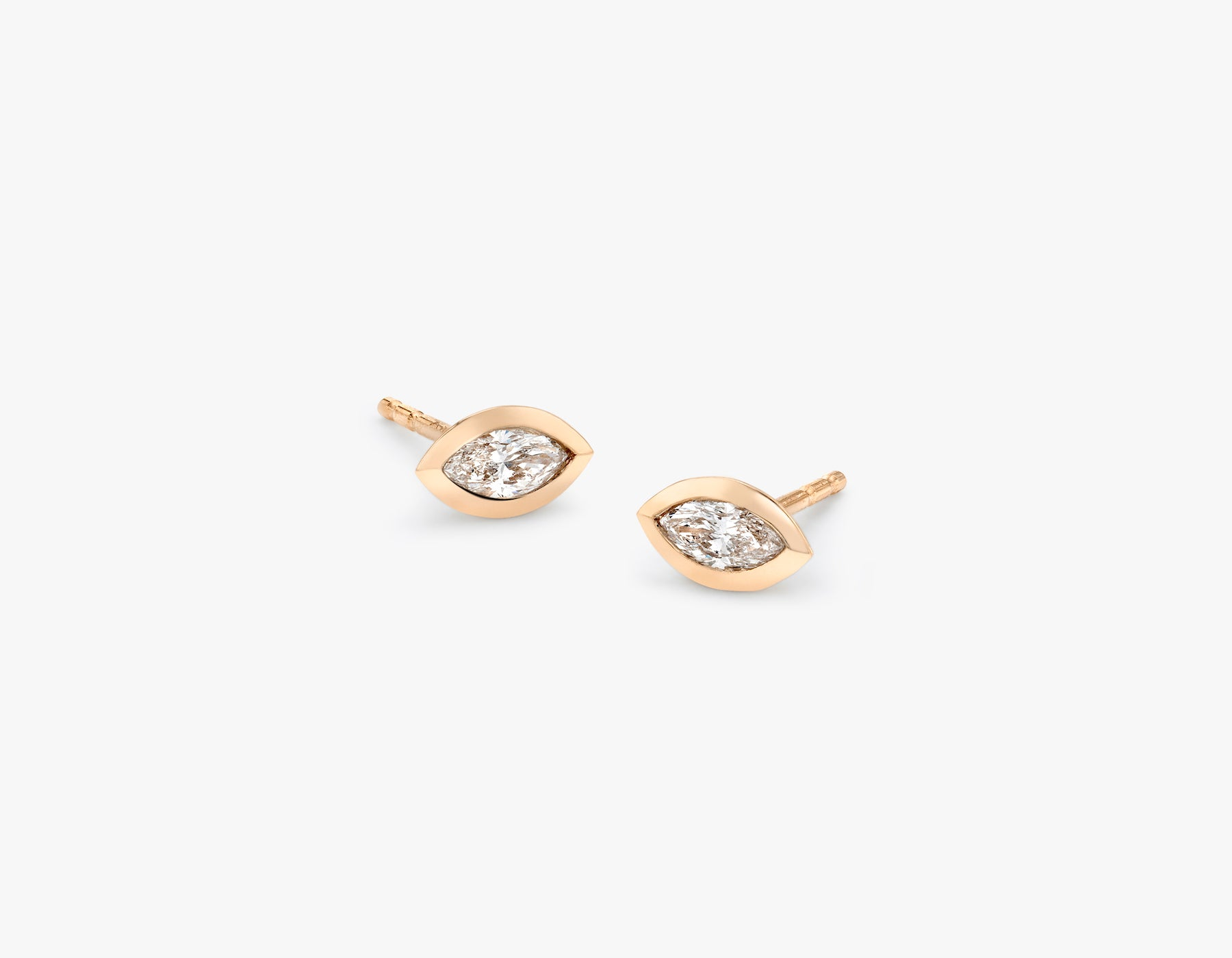 Vrai simple minimalist Marquise Diamond Bezel Earrings, 14K Rose Gold