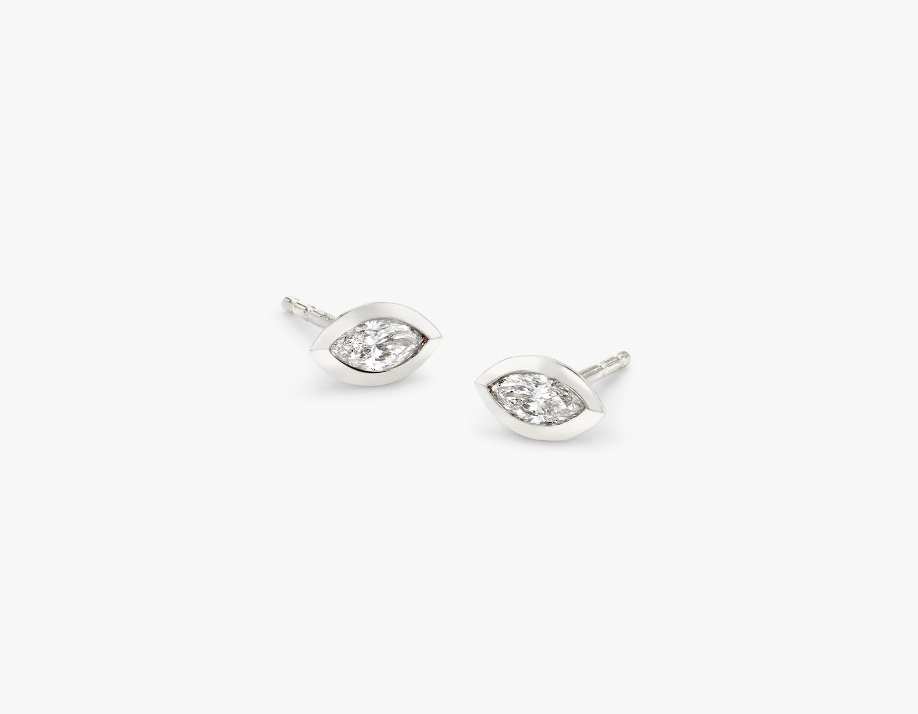 Vrai simple minimalist Marquise Diamond Bezel Earrings, 14K White Gold