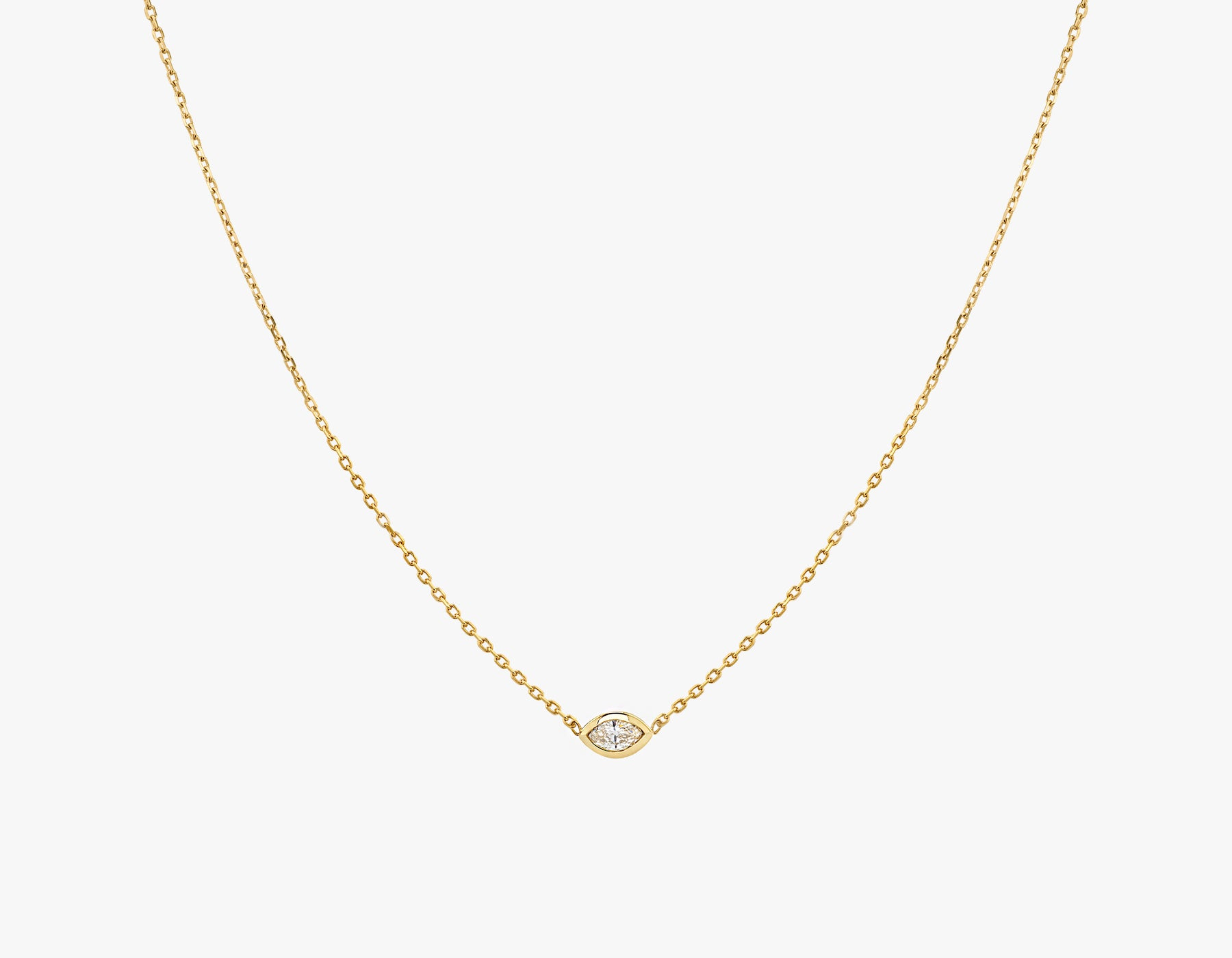 Vrai simple minimalist Marquise Diamond Bezel Necklace, 14K Yellow Gold