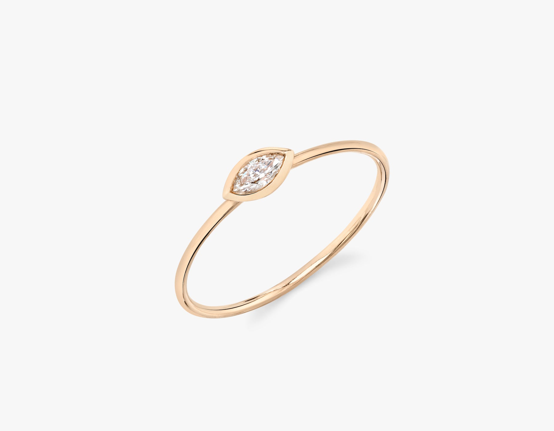 Vrai simple minimalist Marquise Diamond Bezel Ring, 14K Rose Gold
