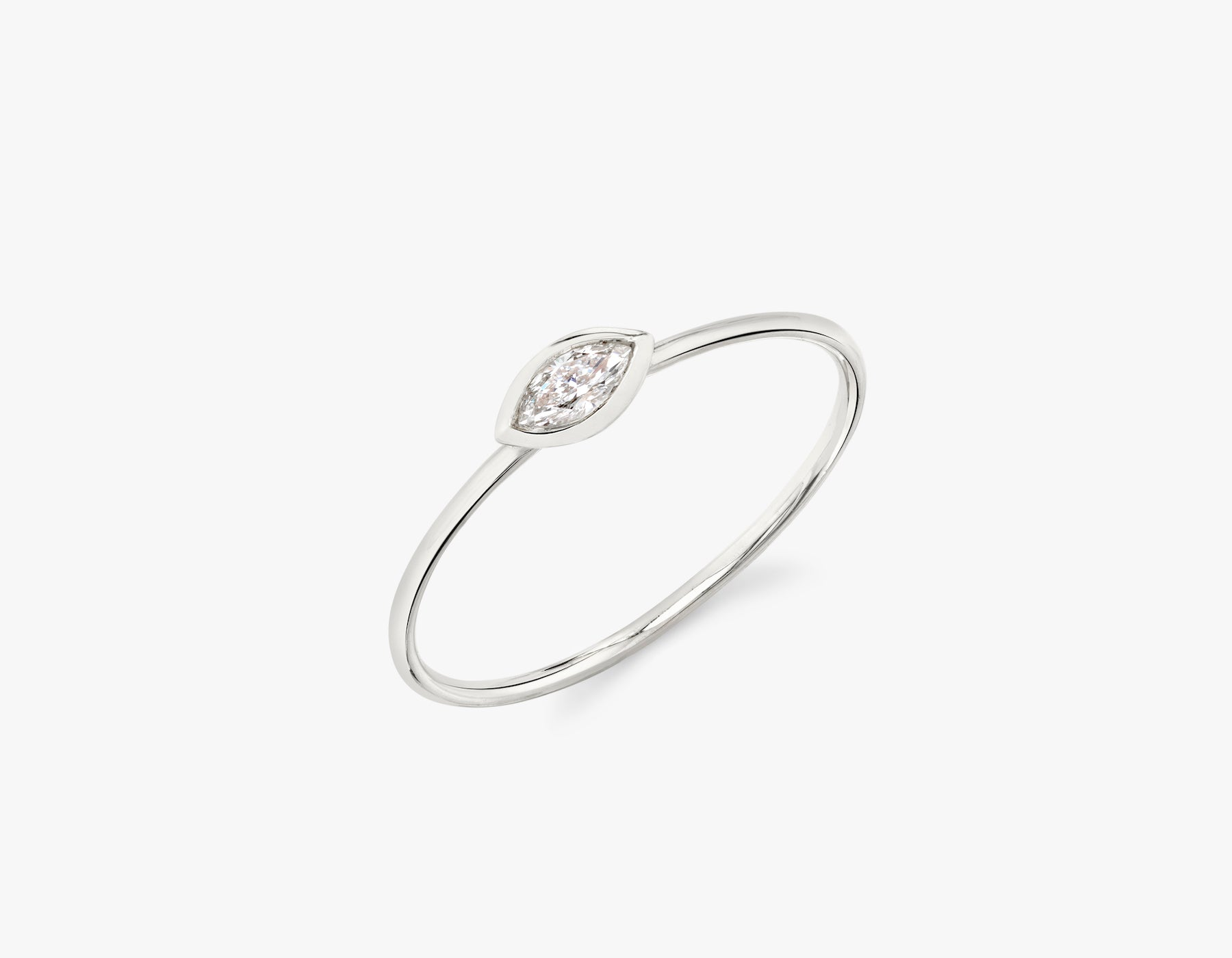 Vrai simple minimalist Marquise Diamond Bezel Ring, 14K White Gold