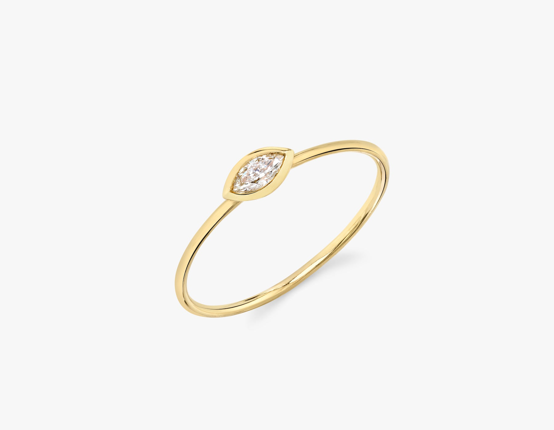 Vrai simple minimalist Marquise Diamond Bezel Ring, 14K Yellow Gold