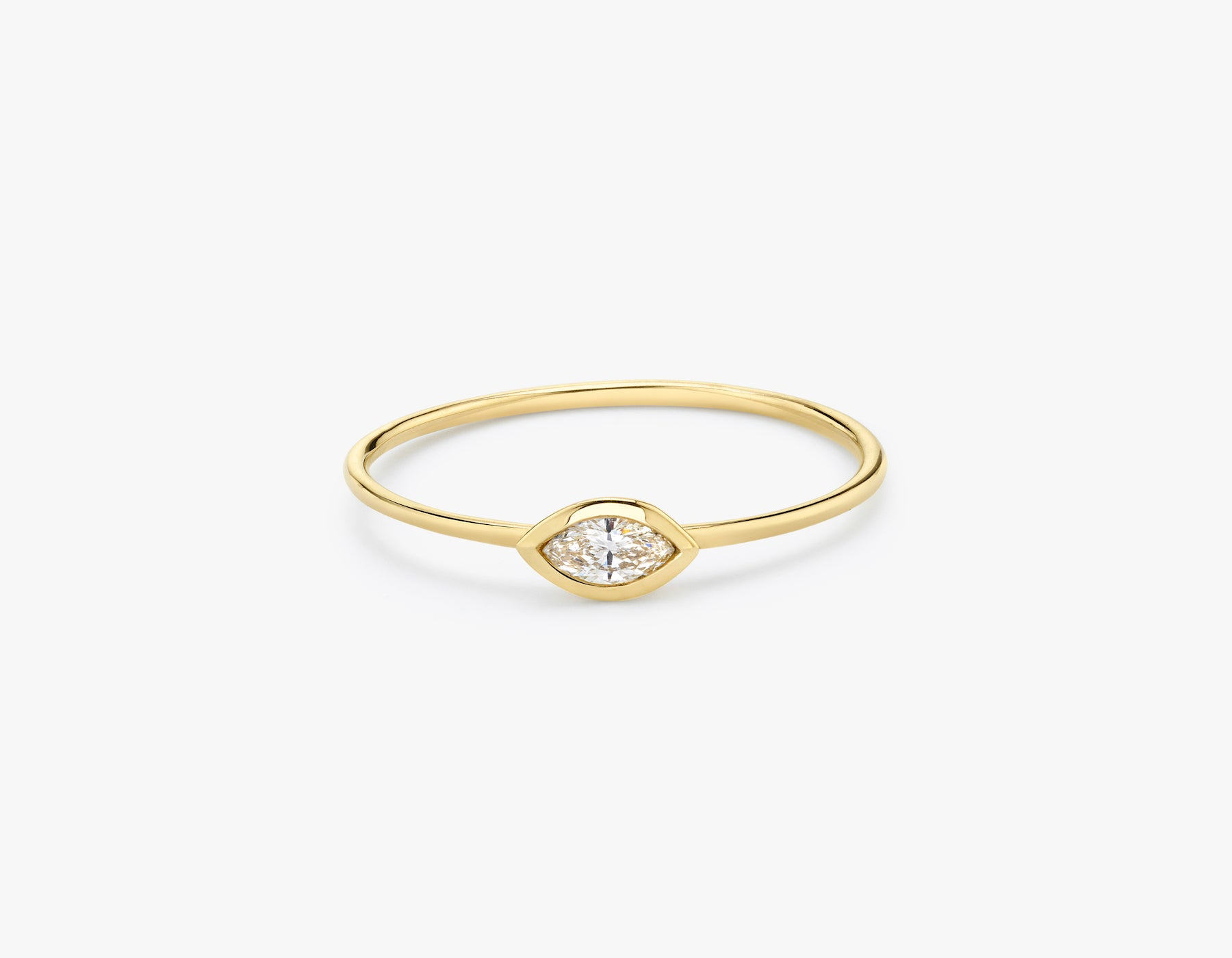 Vrai classic minimalist Marquise Diamond Bezel Ring, 14K Yellow Gold