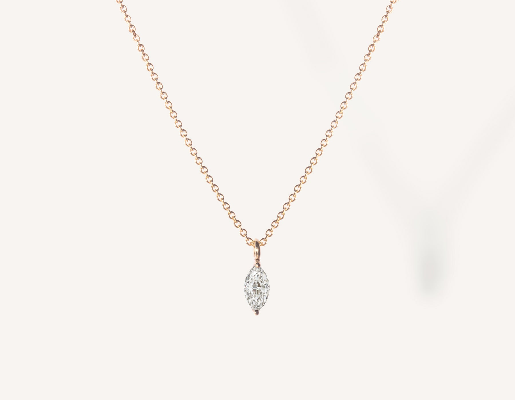 vrai & oro 14k solid gold dainty Marquise Diamond Necklace on minimalist oval link chain, 14K Rose Gold