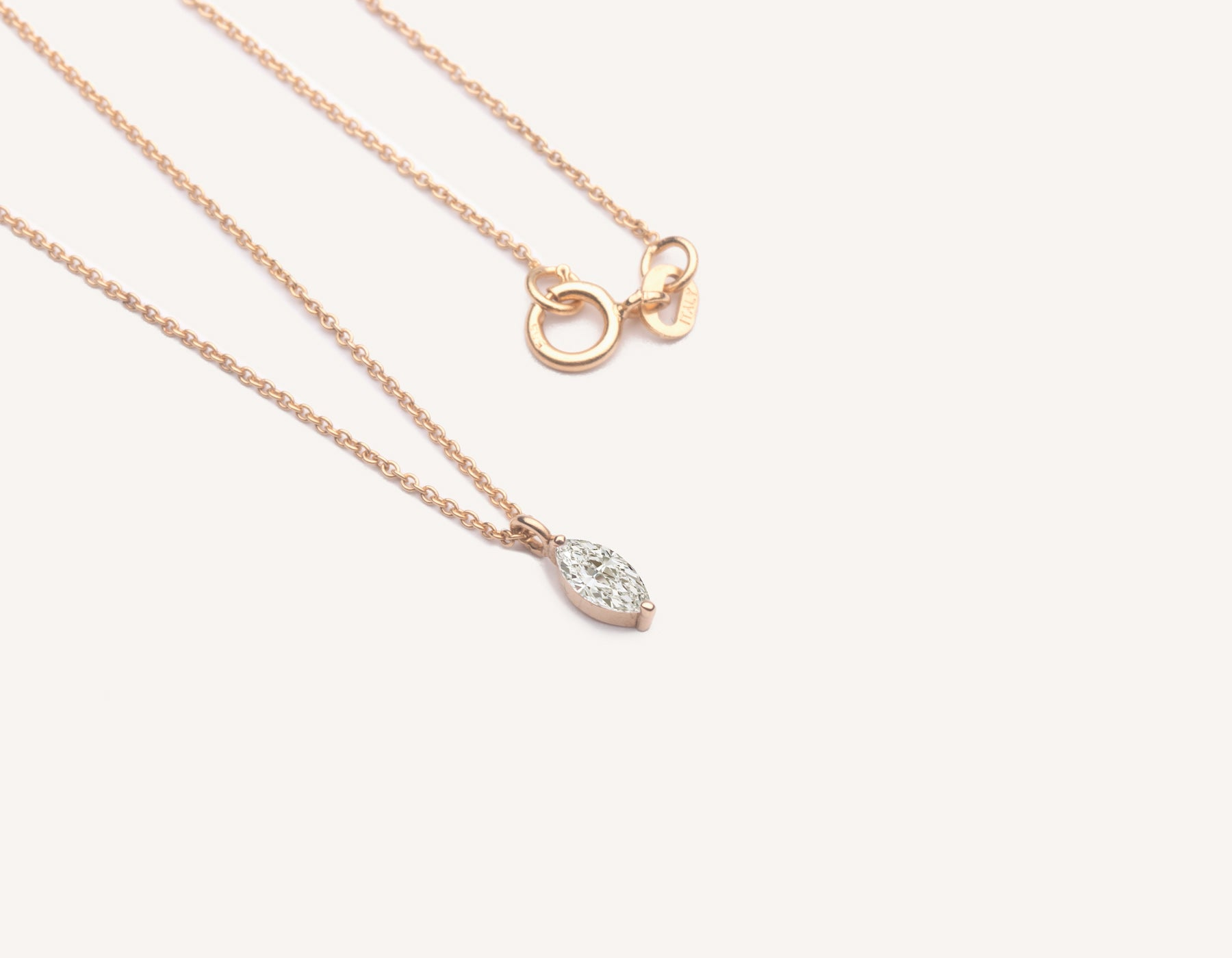 Modern minimalist Marquise Diamond Necklace on thin oval link chain 14k solid gold spring ring clasp vrai and Oro, 14K Rose Gold