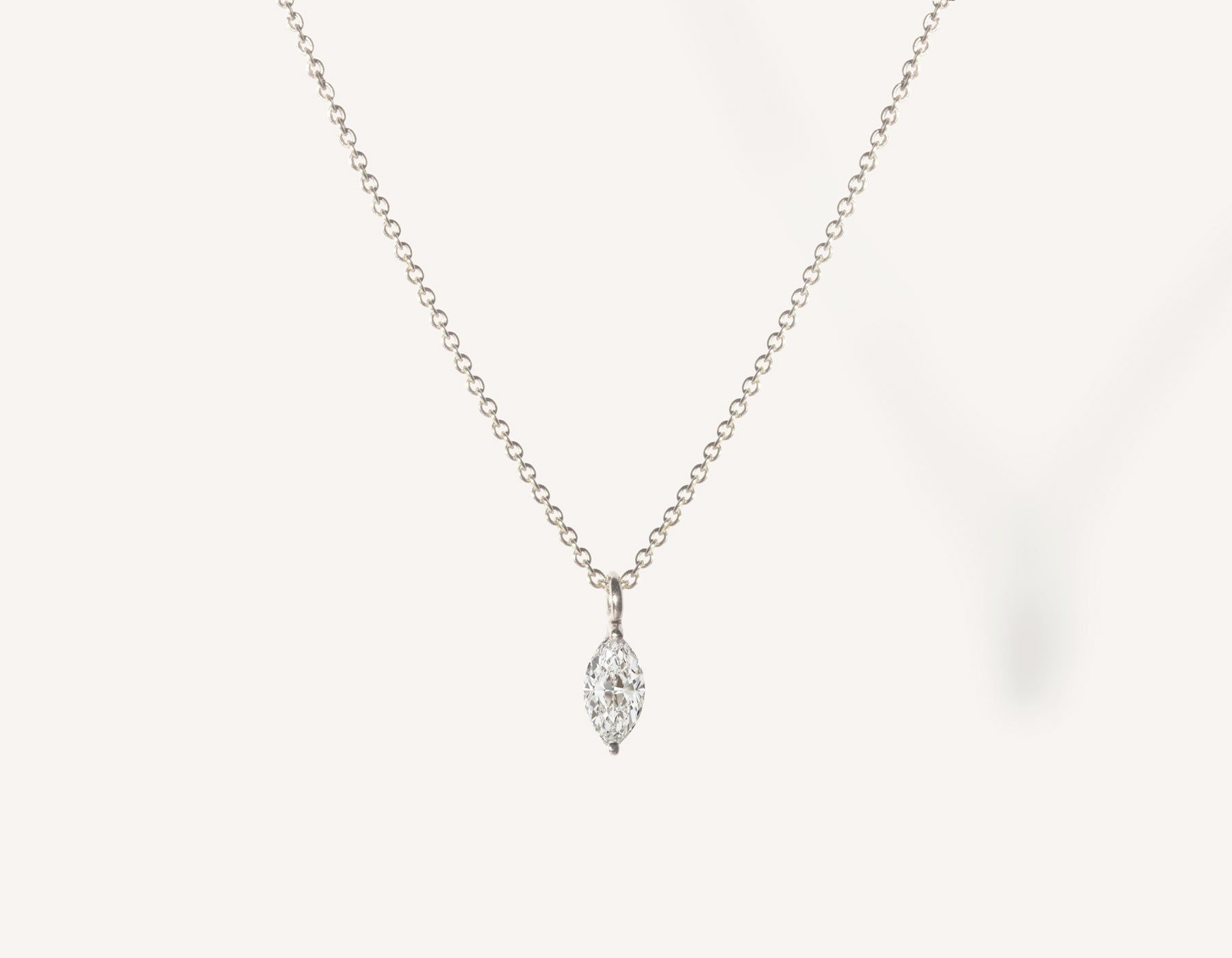 vrai & oro 14k solid gold dainty Marquise Diamond Necklace on minimalist oval link chain, 14K White Gold