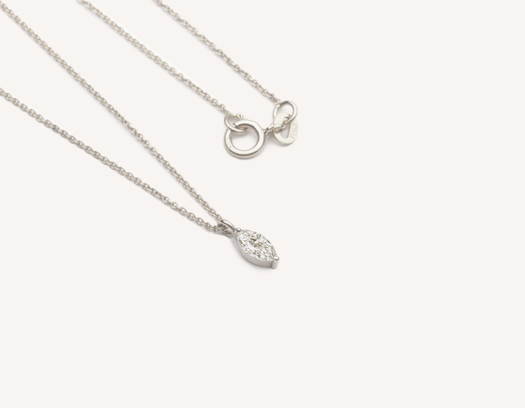 Modern minimalist Marquise Diamond Necklace on thin oval link chain 14k solid gold spring ring clasp vrai and Oro, 14K White Gold