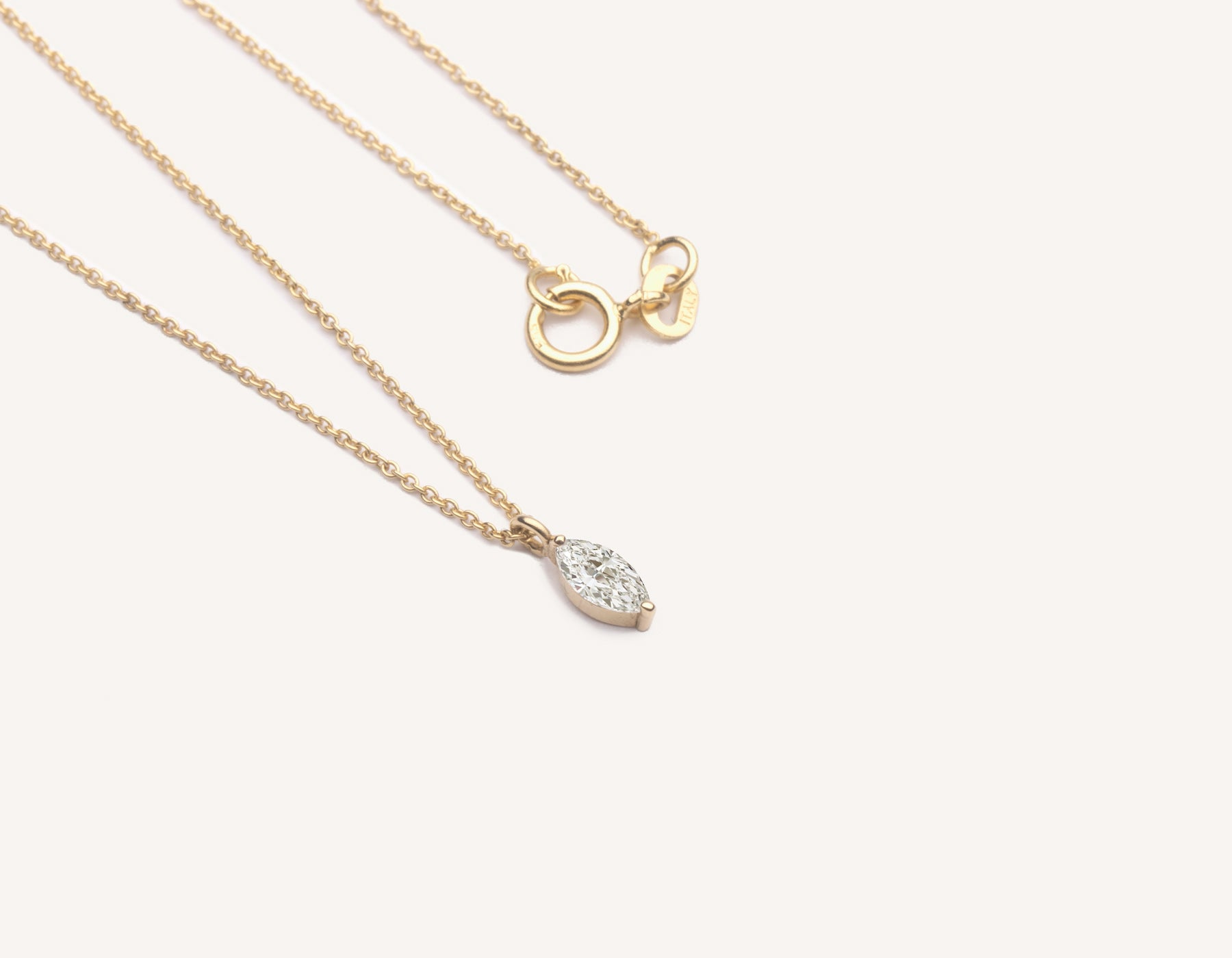 Modern minimalist Marquise Diamond Necklace on thin oval link chain 14k solid gold spring ring clasp vrai and Oro, 14K Yellow Gold