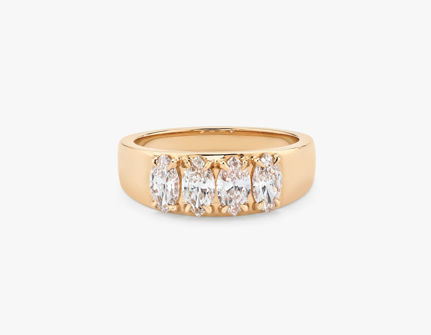 Vrai simple minimalist marquise Diamond Tetrad Band .25ct Marquise Diamond Ring, 14K Rose Gold