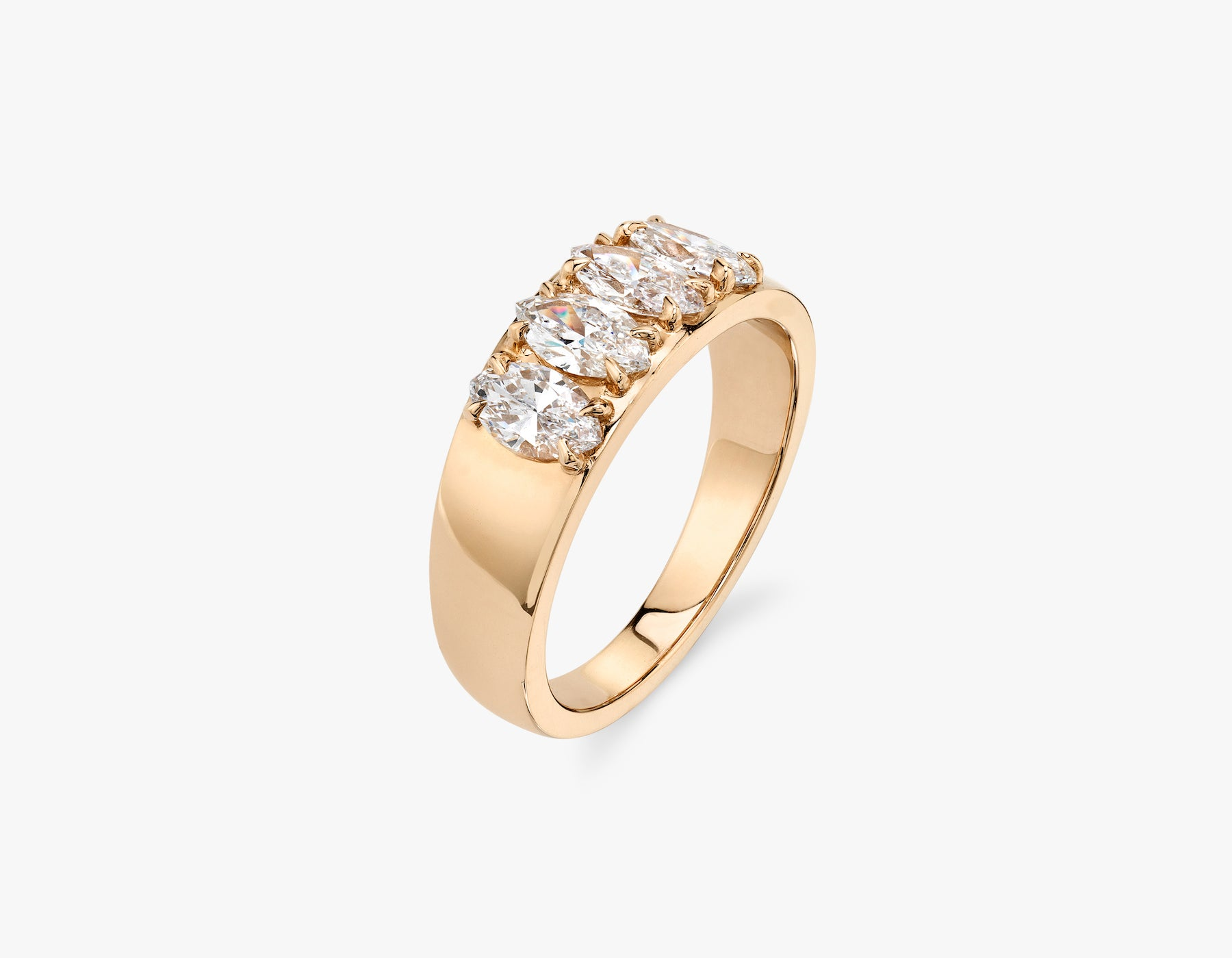 Vrai classic elegant Marquise Diamond Tetrad Band .25ct marquise Diamond Ring, 14K Rose Gold