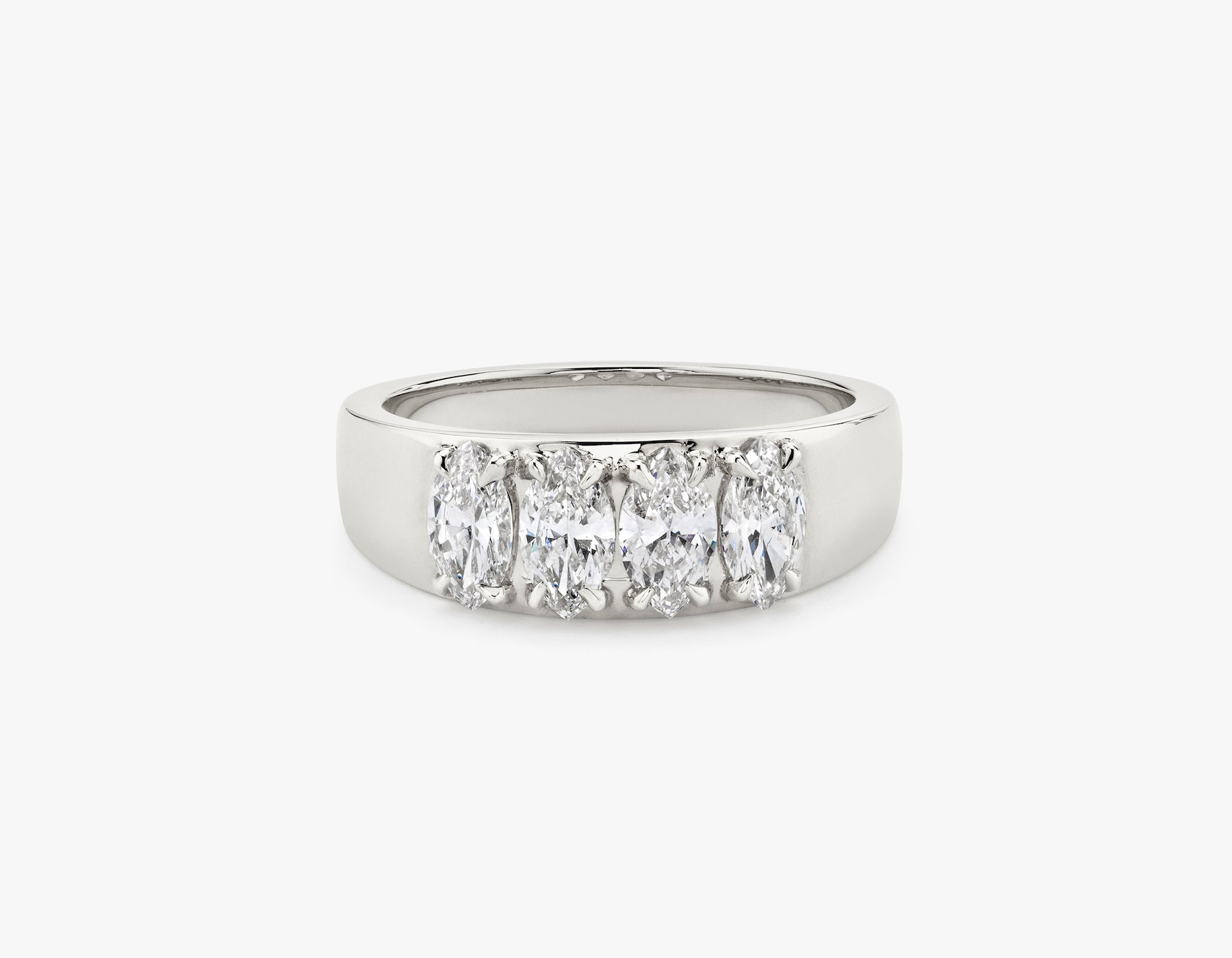 Vrai simple minimalist marquise Diamond Tetrad Band .25ct Marquise Diamond Ring, 14K White Gold