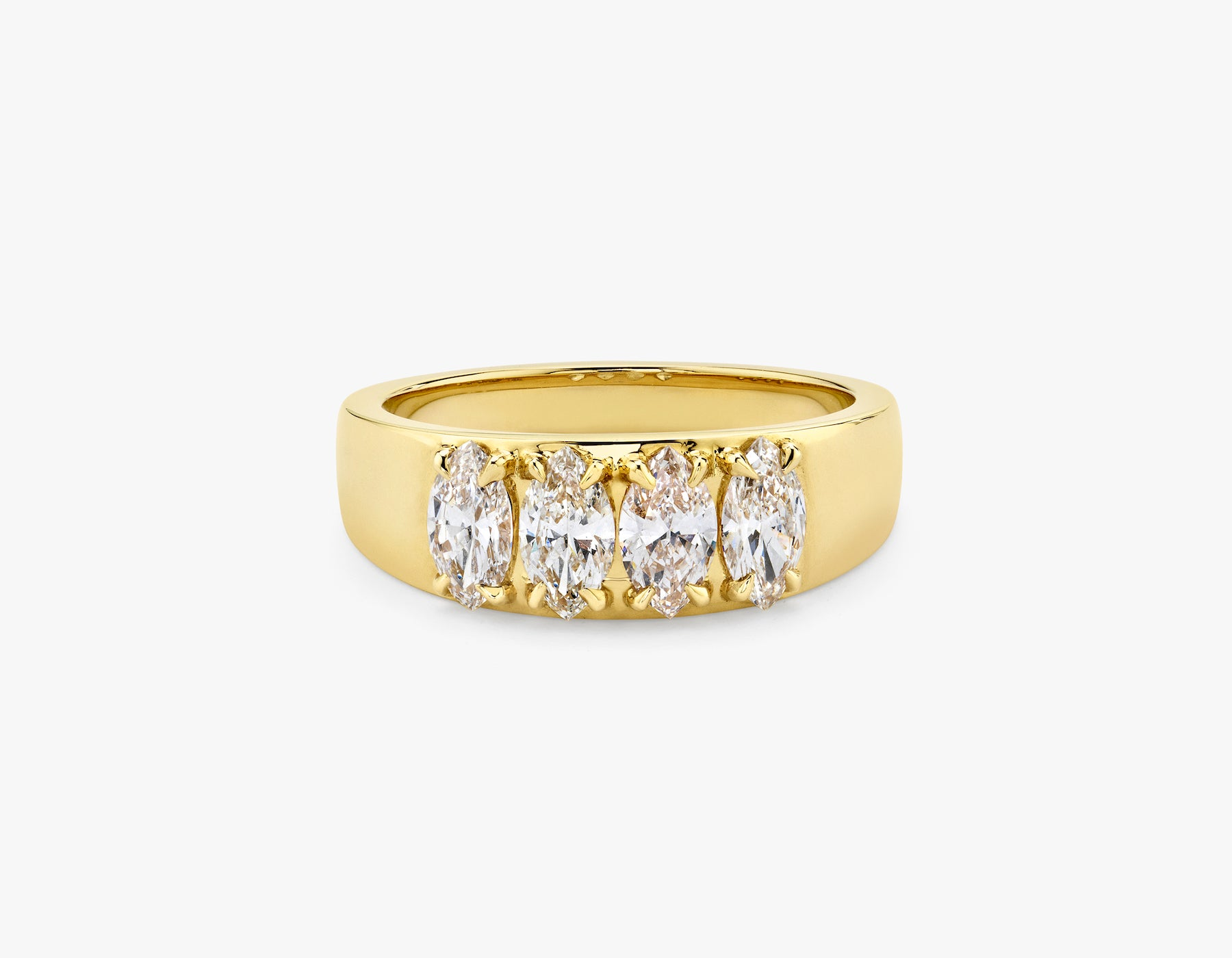 Vrai simple minimalist marquise Diamond Tetrad Band .25ct Marquise Diamond Ring, 14K Yellow Gold