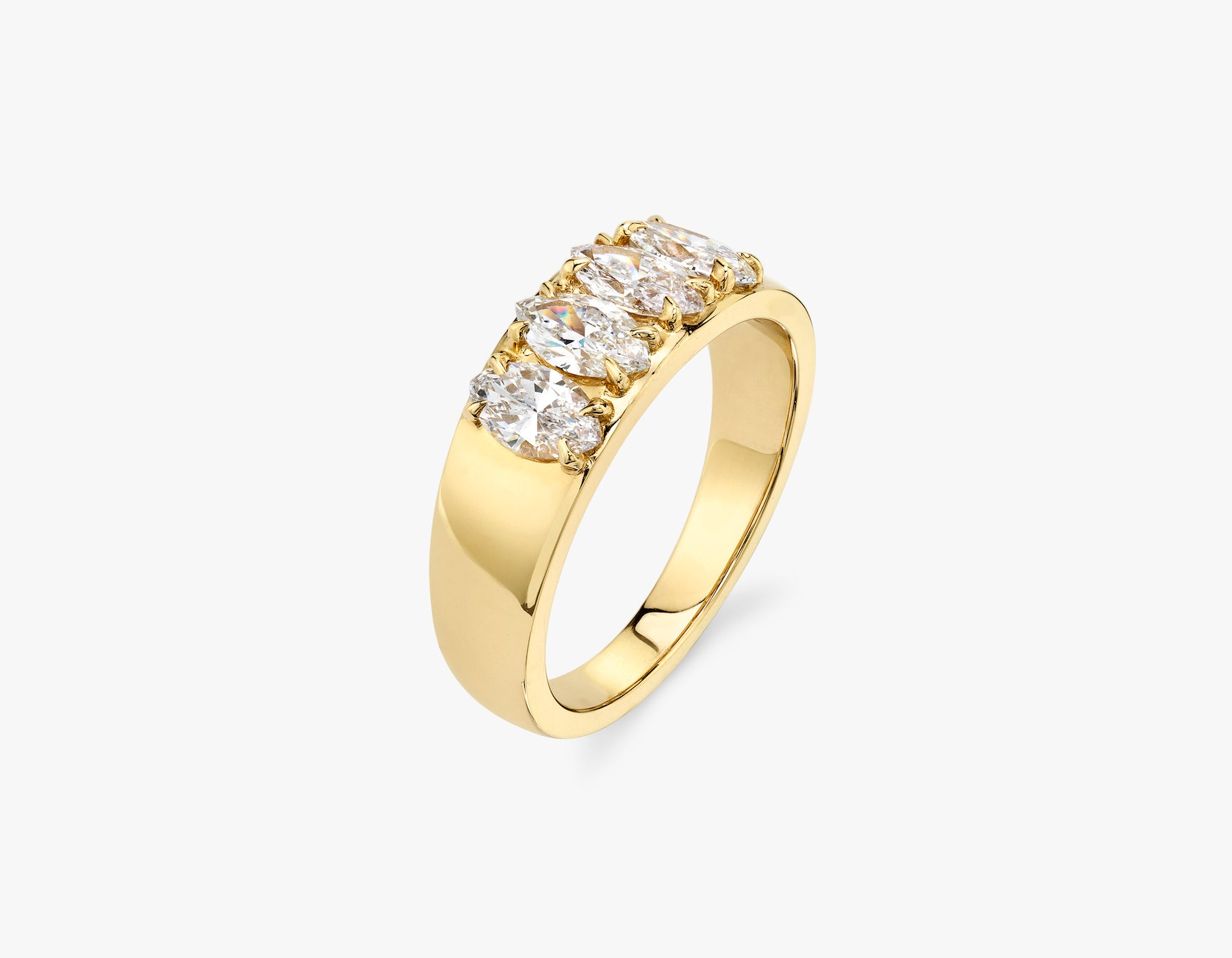 Vrai classic elegant Marquise Diamond Tetrad Band .25ct marquise Diamond Ring, 14K Yellow Gold