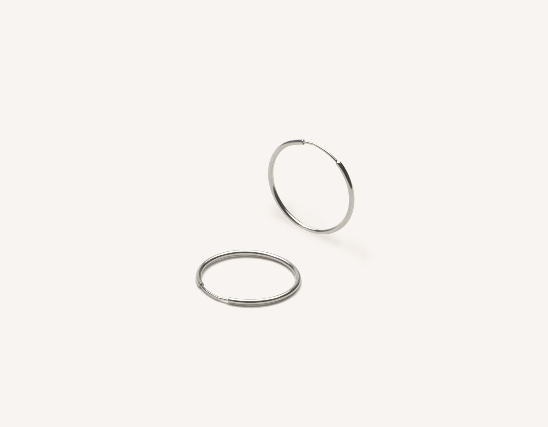 Simple classic thin Medium Lightweight Hoops 14k solid gold Vrai and Oro minimalist jewelry, 14K White Gold