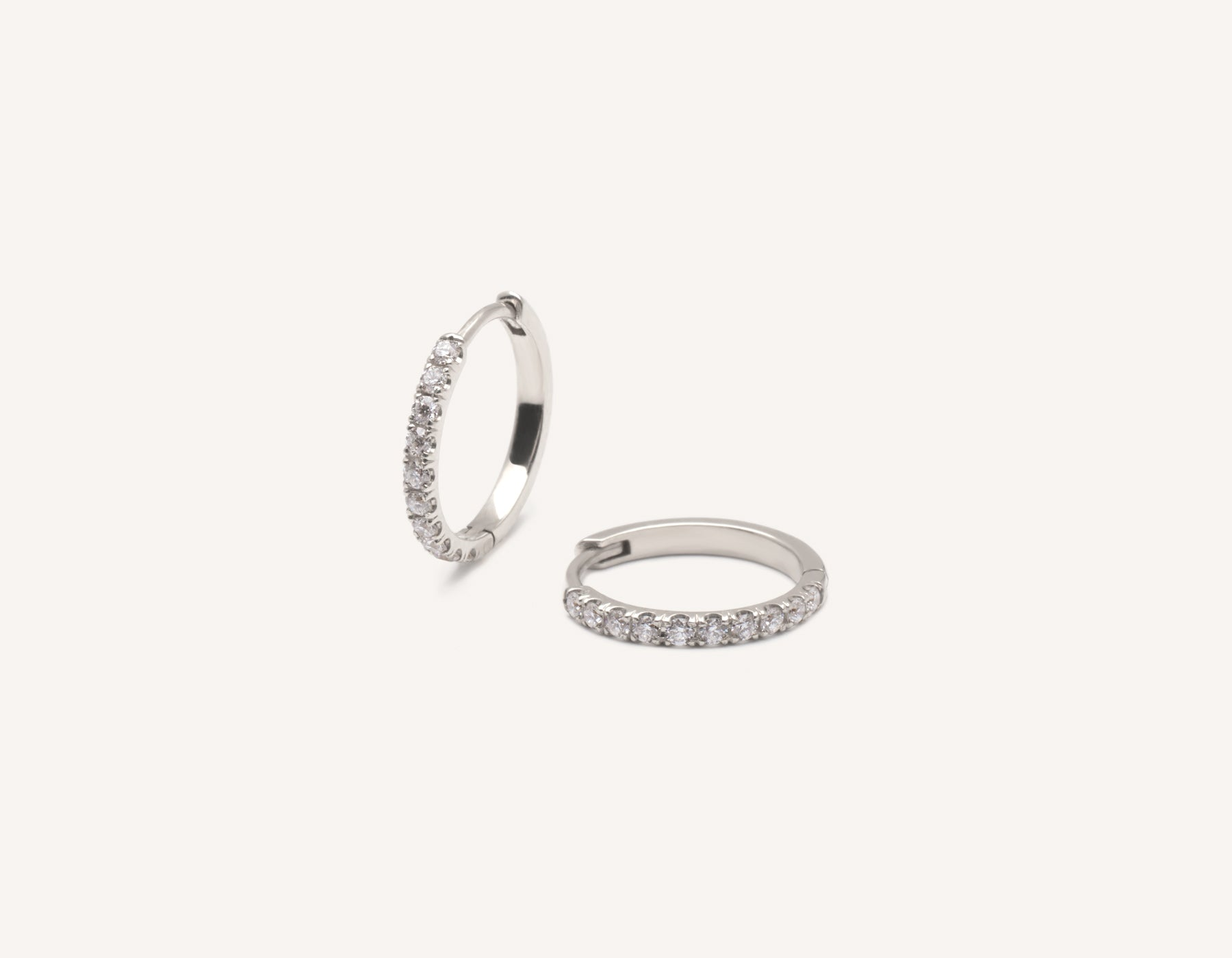 Simple classic 14k solid gold Medium Pave Diamond Huggie Hoops Earrings Vrai and Oro, 14K White Gold