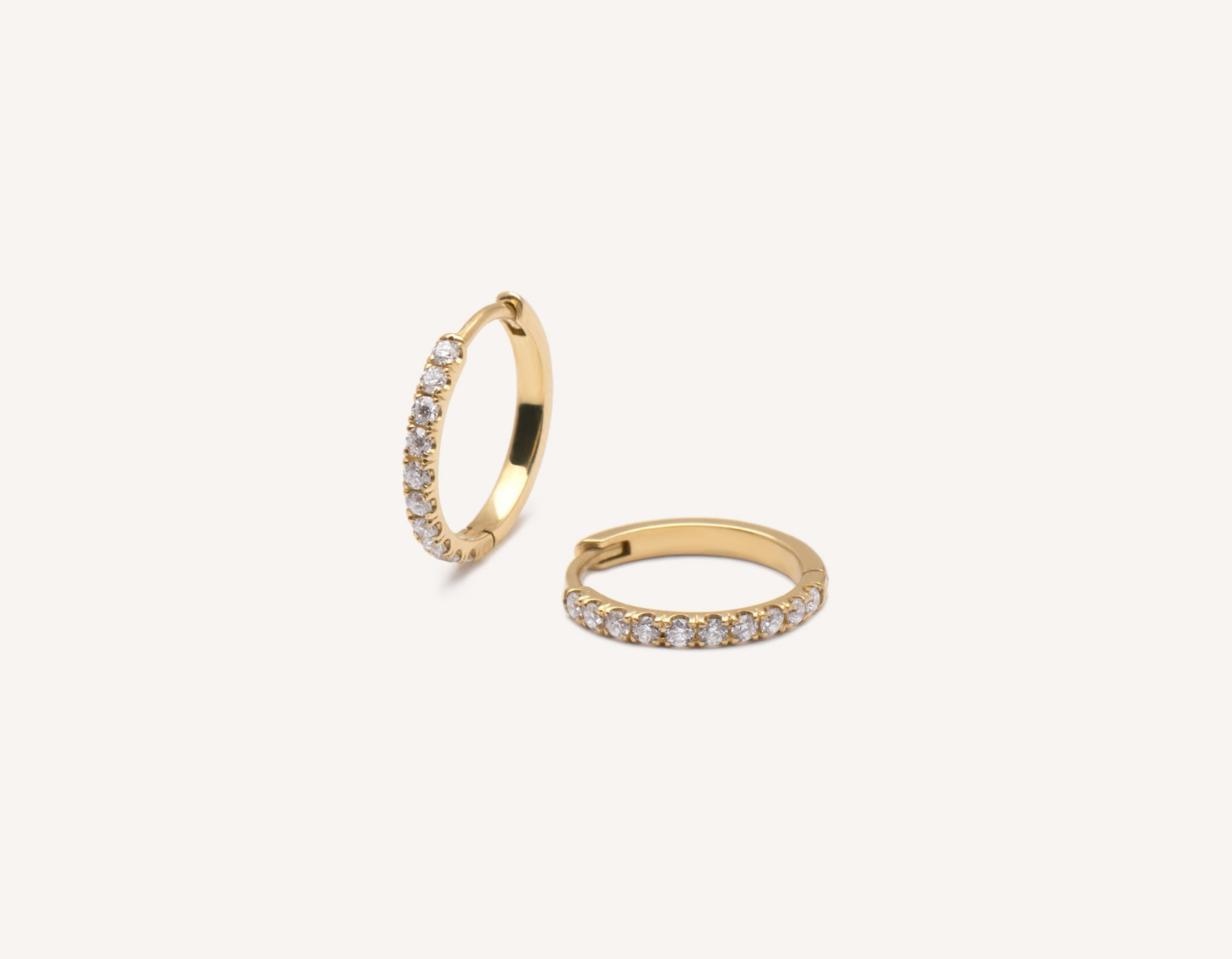 Simple classic 14k solid gold Medium Pave Diamond Huggie Hoops Earrings Vrai and Oro, 14K Yellow Gold