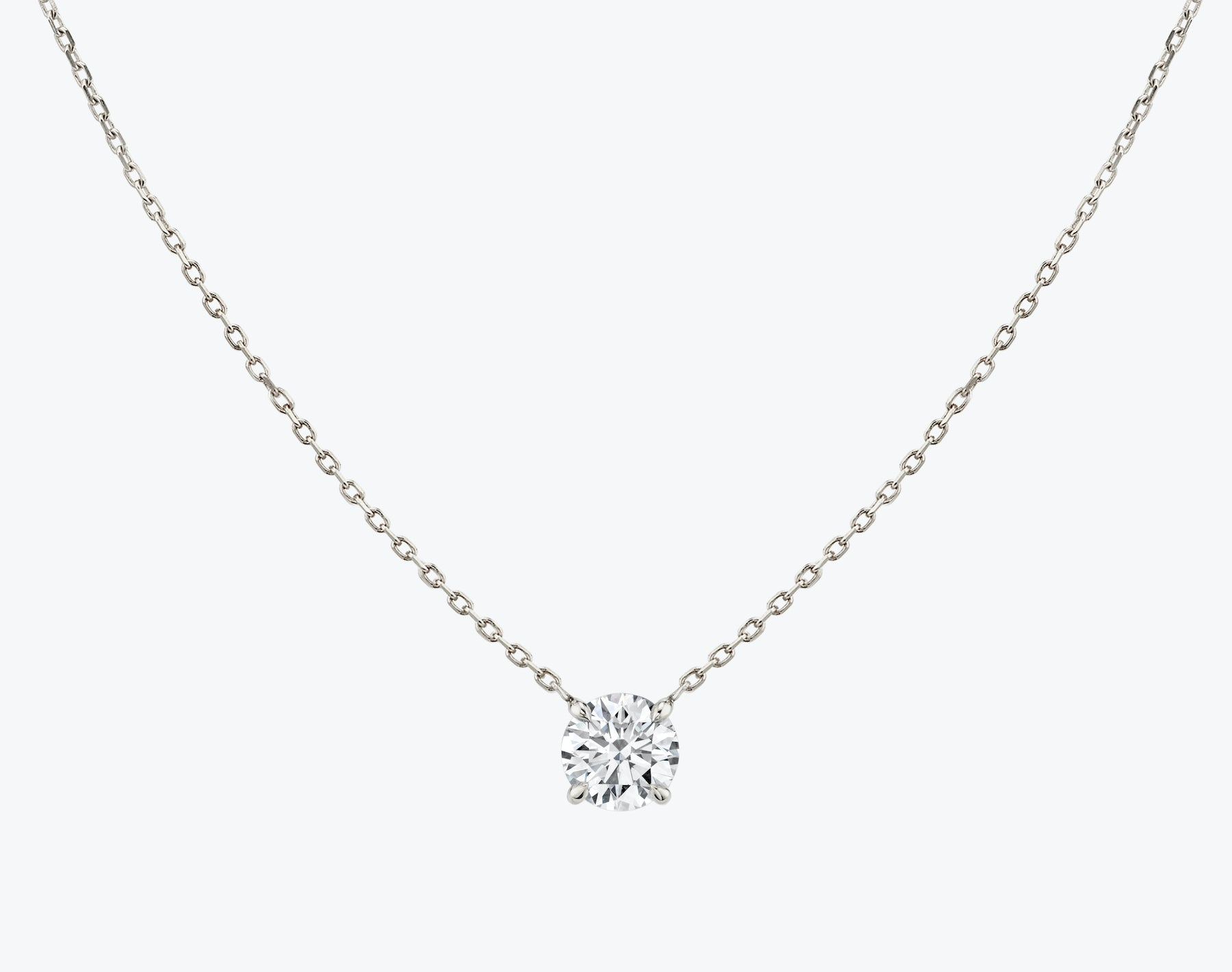 Vrai 14K solid gold solitaire round brilliant diamond necklace 1ct minimalist delicate, 14K White Gold