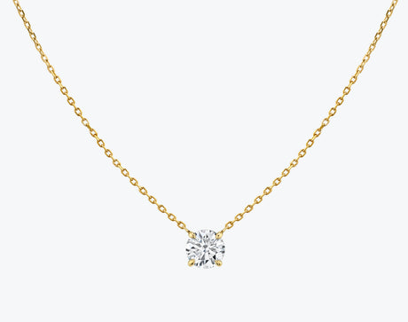 Vrai 14K solid gold solitaire round brilliant diamond necklace 1ct minimalist delicate, 14K Yellow Gold