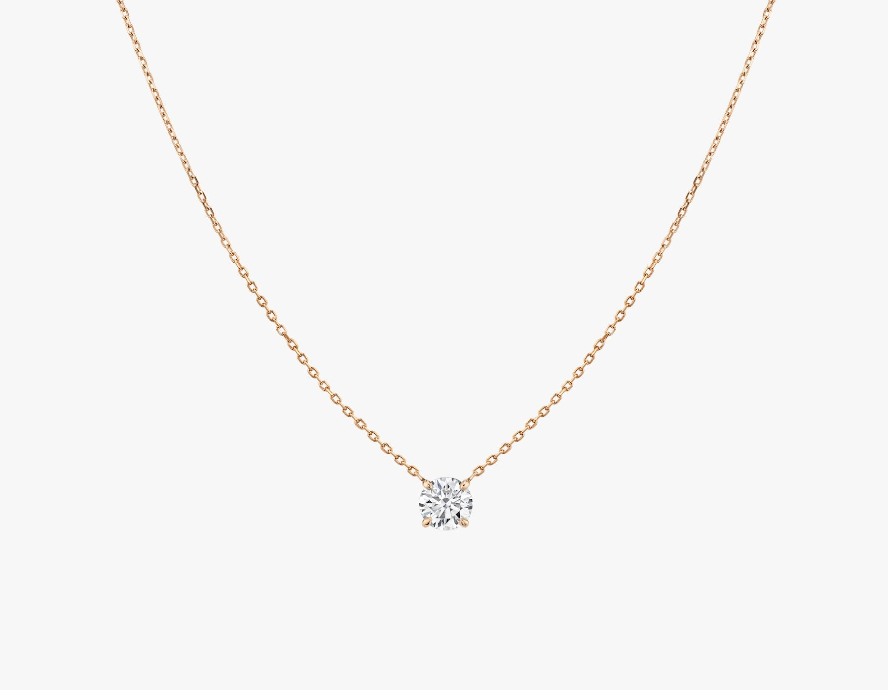 Vrai 14K solid gold solitaire round brilliant diamond necklace 1ct minimalist delicate, 14K Rose Gold