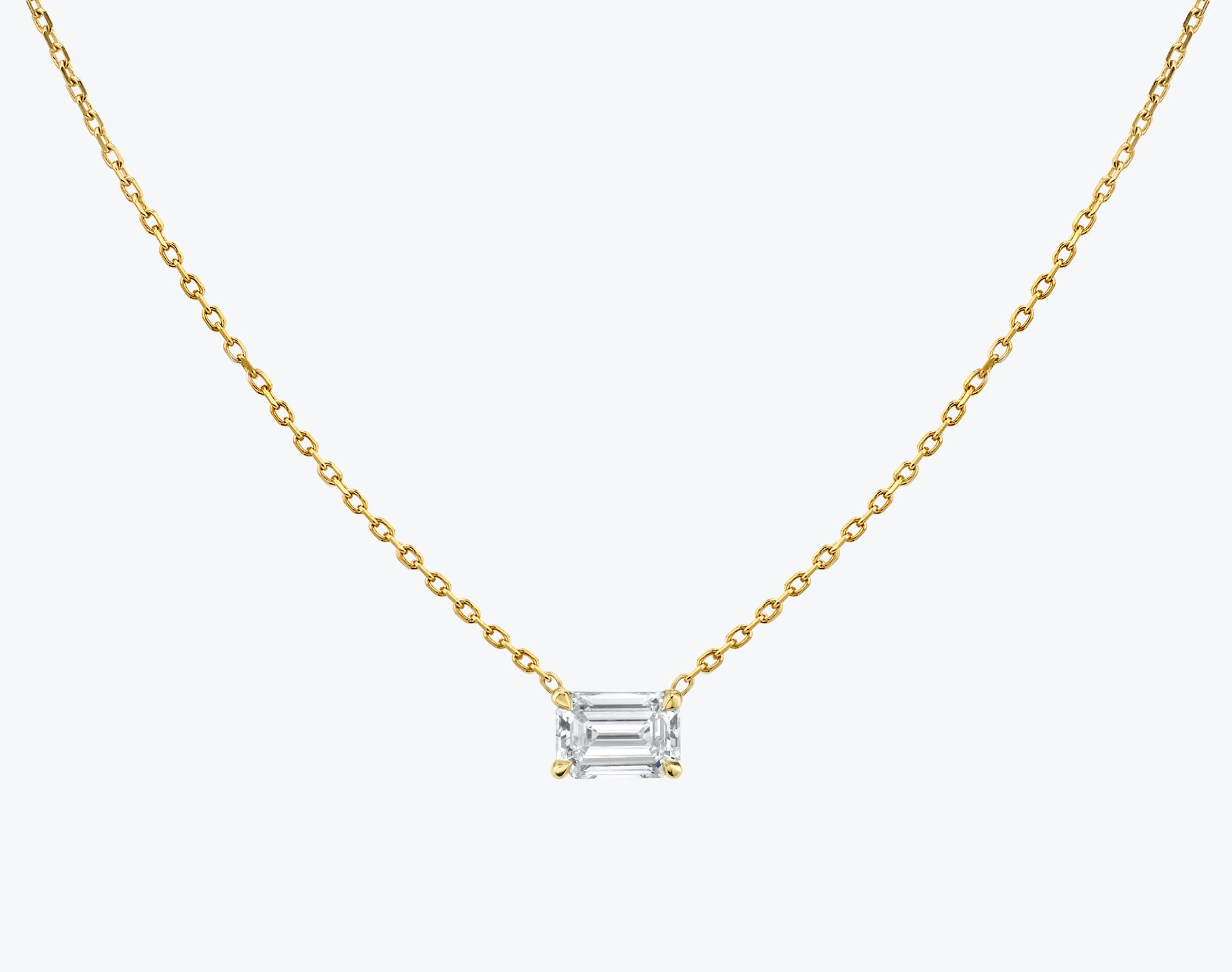 Vrai 14K solid gold solitaire emerald diamond necklace 1ct minimalist delicate, 14K Yellow Gold