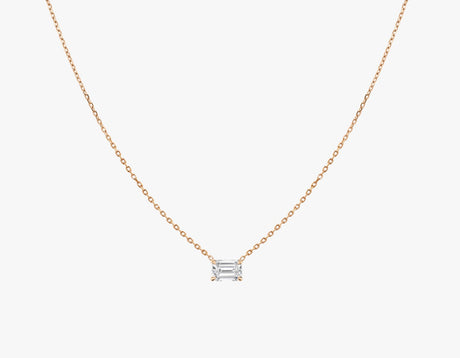Vrai 14K solid gold solitaire emerald diamond necklace 1ct minimalist delicate, 14K Rose Gold