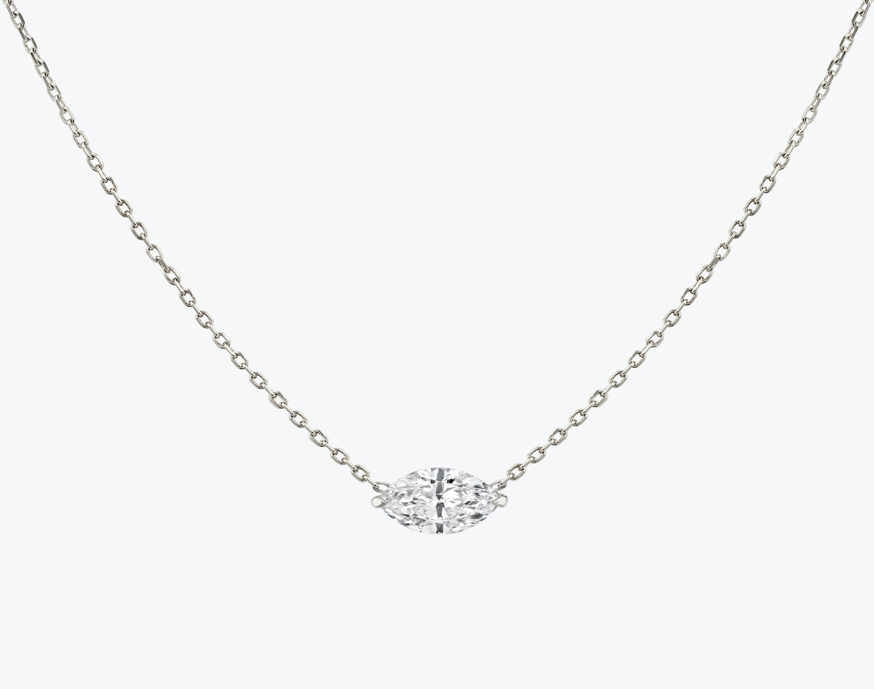 Vrai 14K solid gold solitaire marquise diamond necklace 1ct minimalist delicate, 14K White Gold