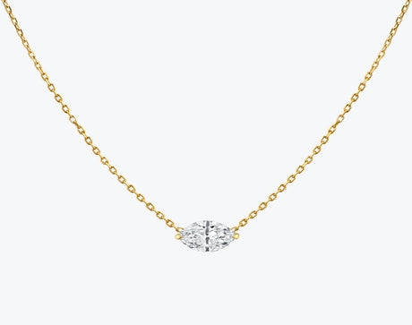 Vrai 14K solid gold solitaire marquise diamond necklace 1ct minimalist delicate, 14K Yellow Gold